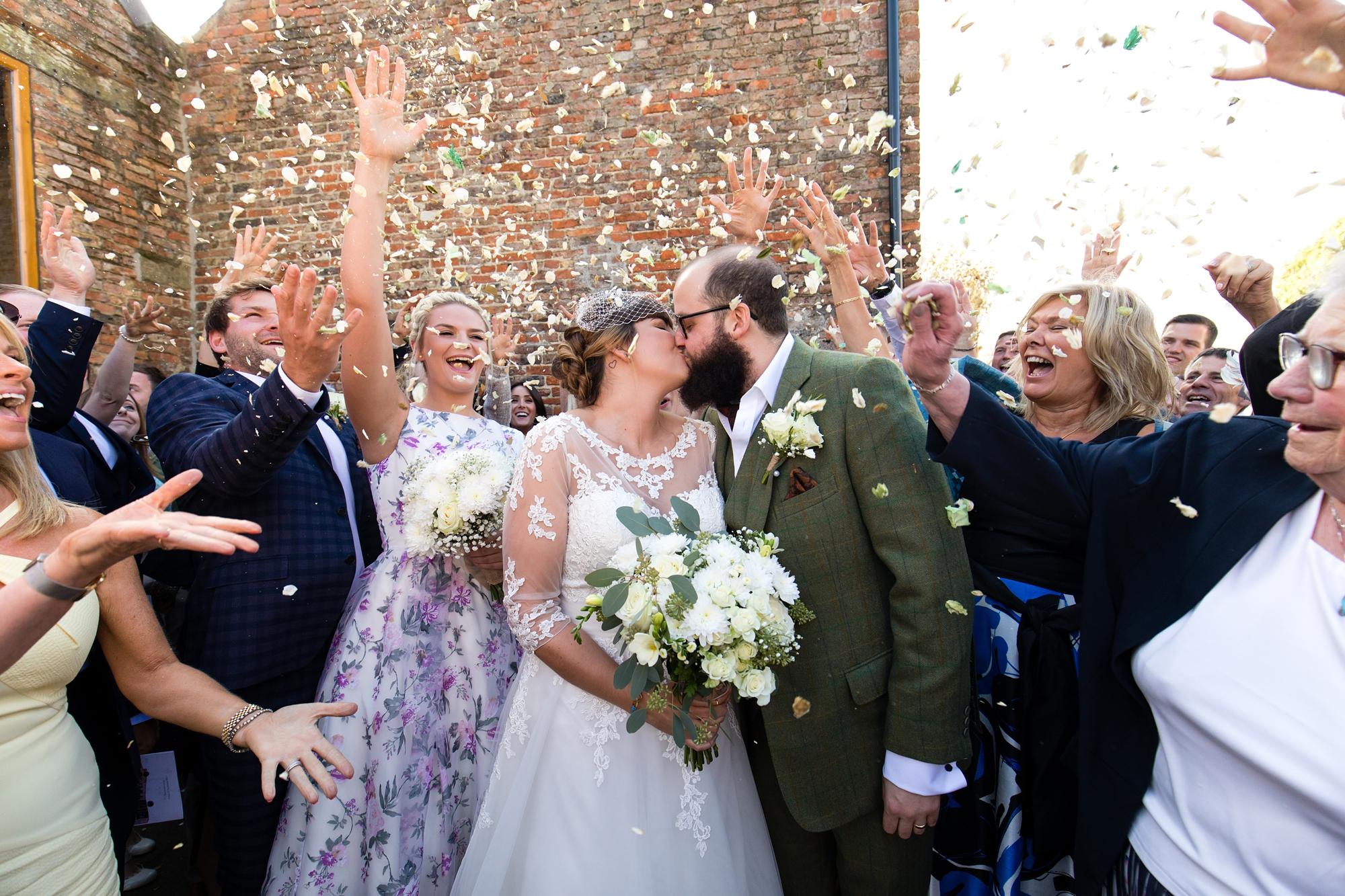 York Wedding Photography at Barmbyfield Barns confetti