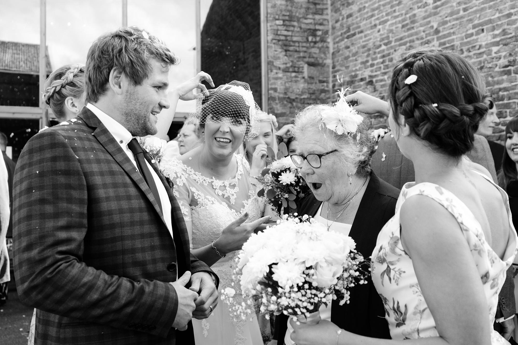 York Wedding Photography at Barmbyfield Barns meet & greet guests