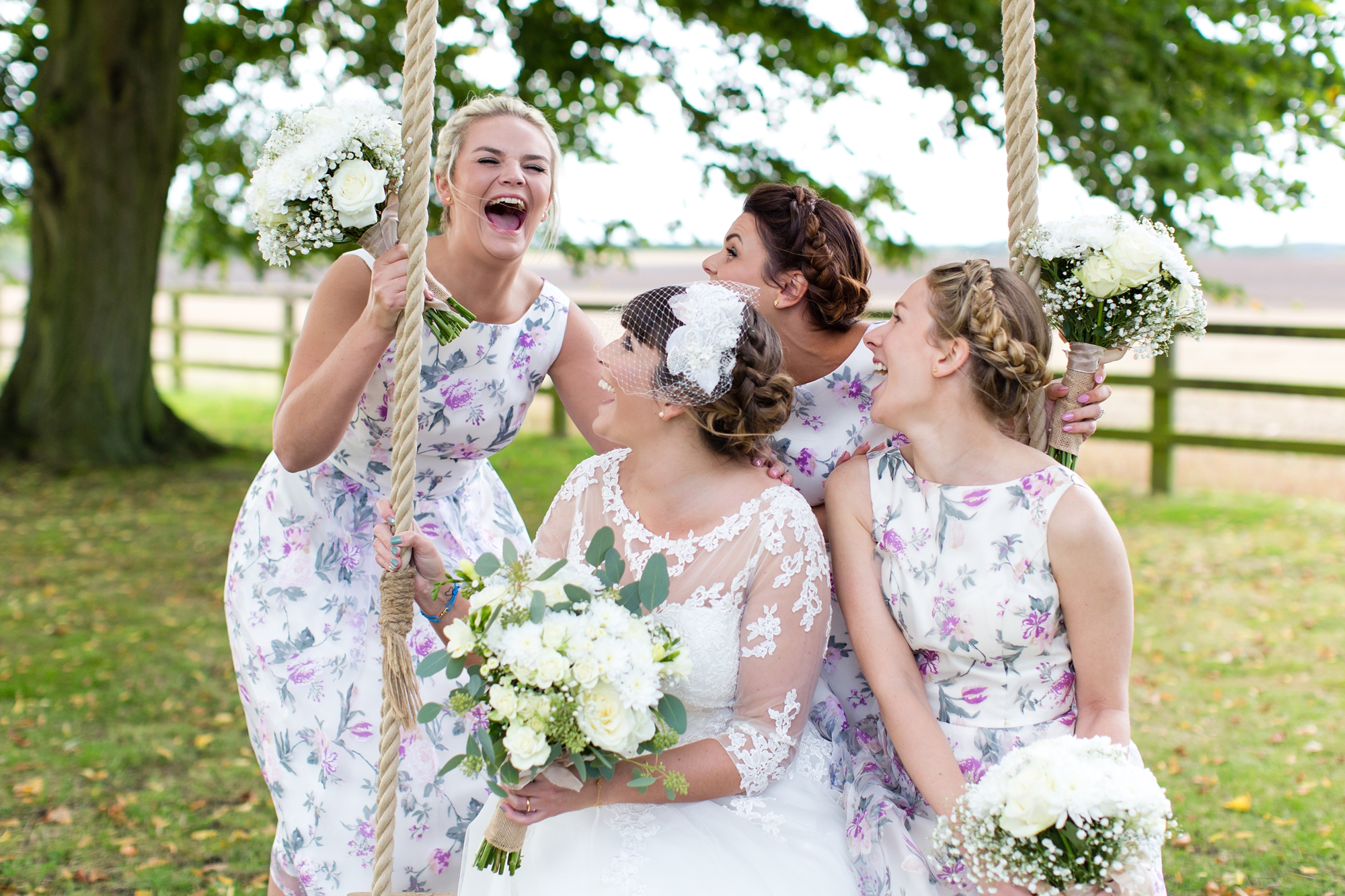 York Wedding Photography at Barmbyfield Barns laughing bridesmaids