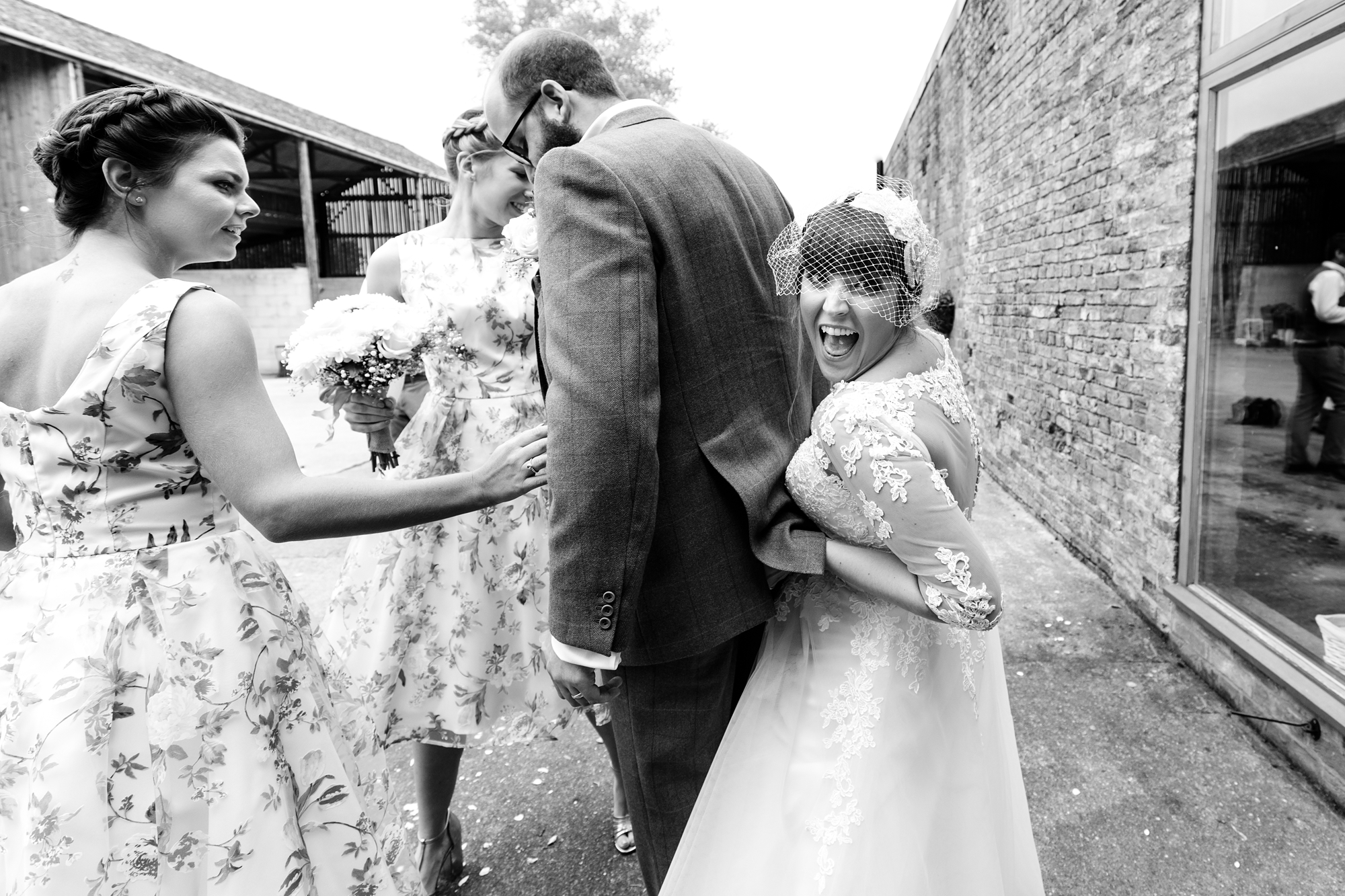 York Wedding Photography at Barmbyfield Barns bride being silly