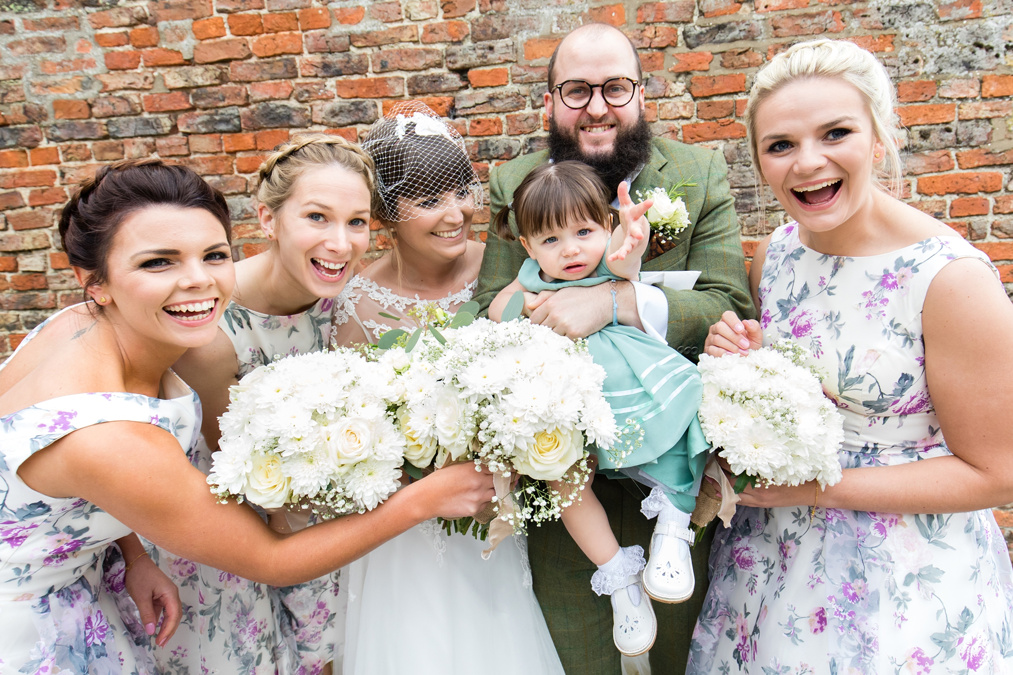 York Wedding Photography at Barmbyfield Barns group photo with flower girl