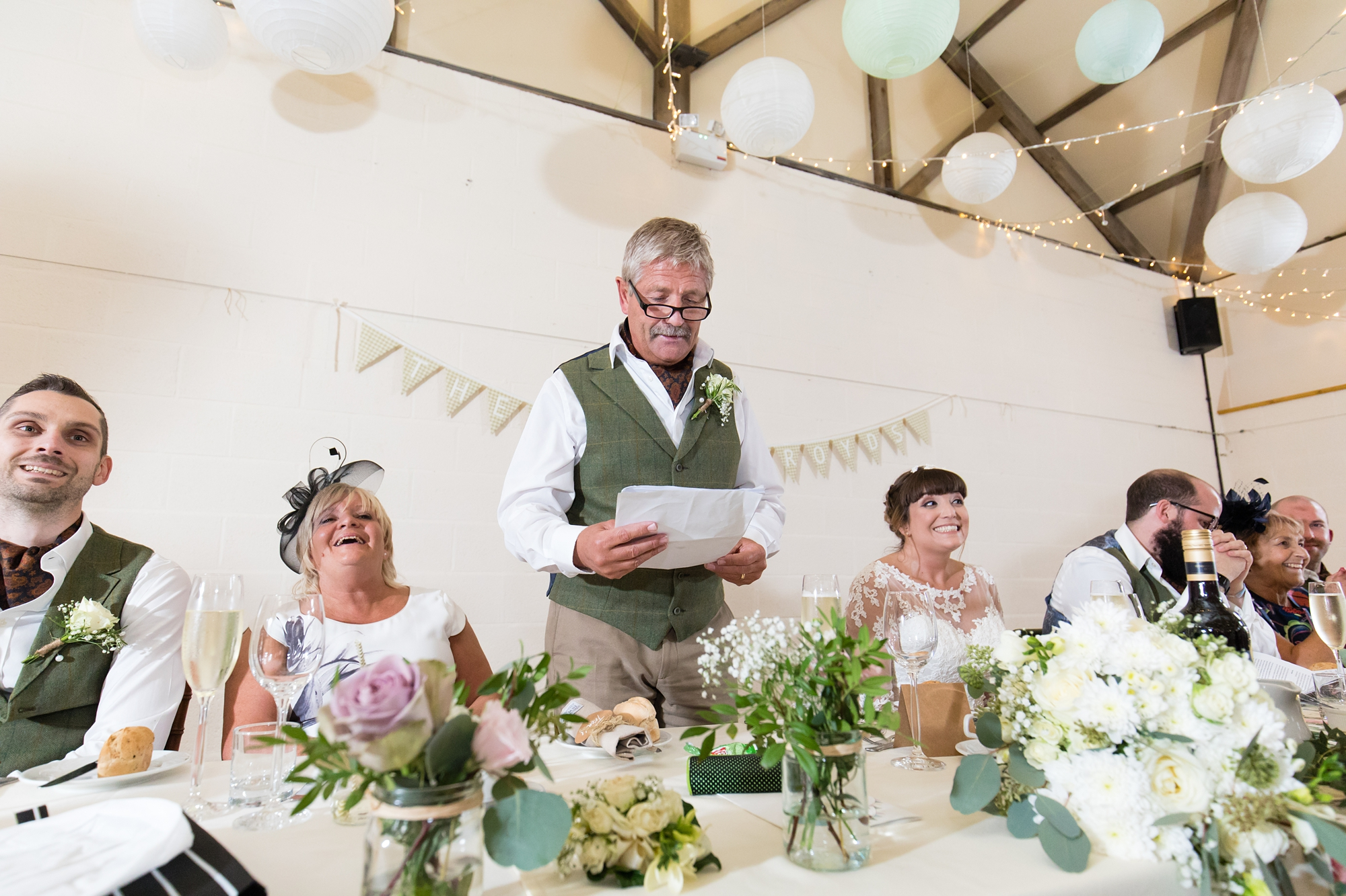 York Wedding Photography at Barmbyfield Barns dad giving speech