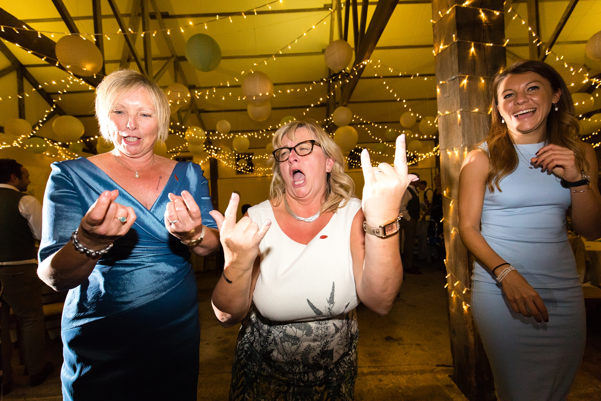 Funny face during wedding dance photos