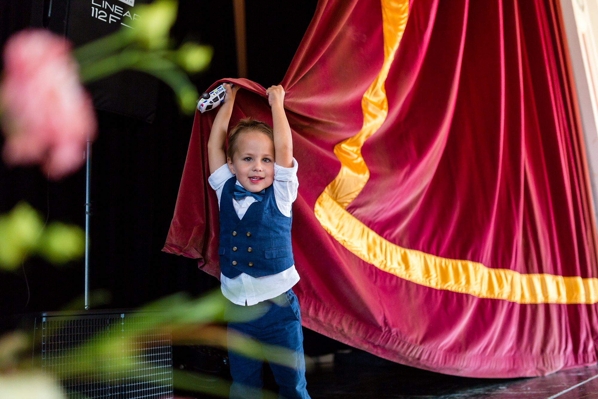 Cheeky kid lights the curtain during speeches A fun Yorkshire Wedding