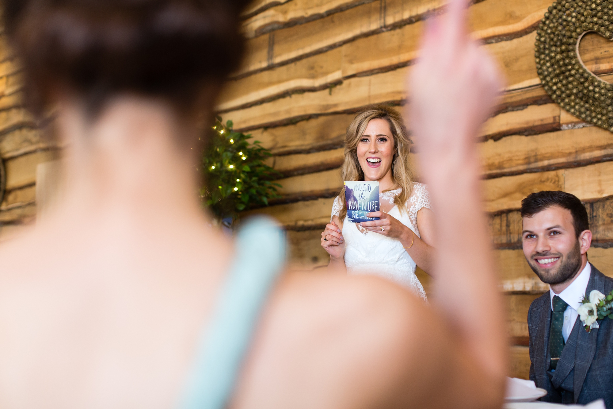 Bride points at cheering mum during speeches Best York Documentary Photography