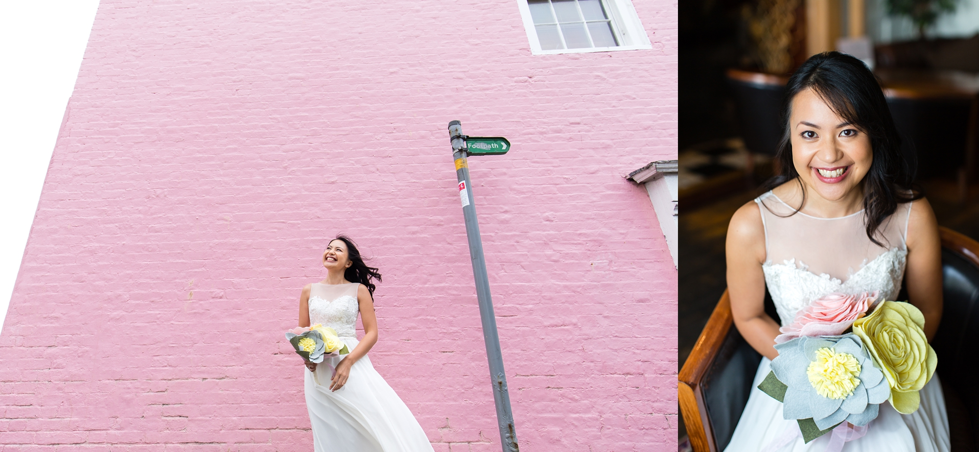 Preston Court Wedding Photography bride against pink wall