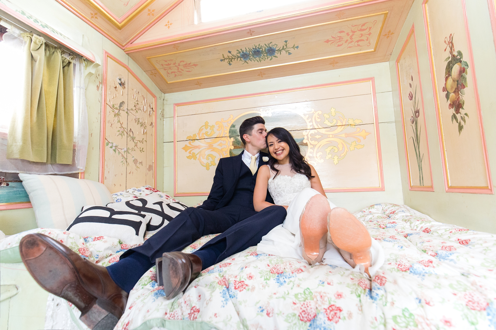 Preston Court Wedding Photography couples portraits inside gypsy van