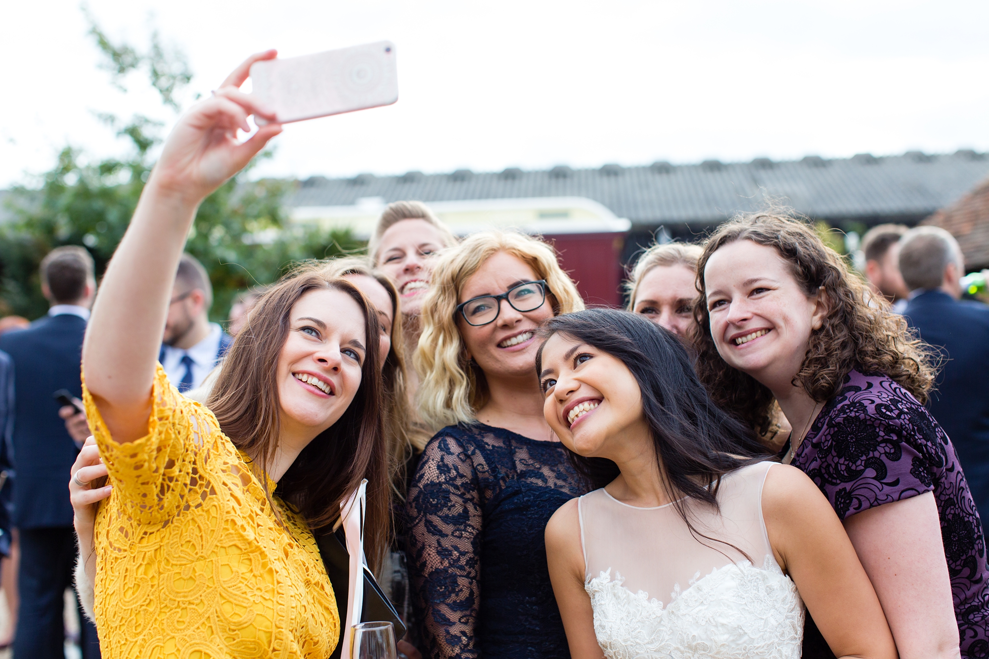 Preston Court Wedding Photography guests take selfie with the bride
