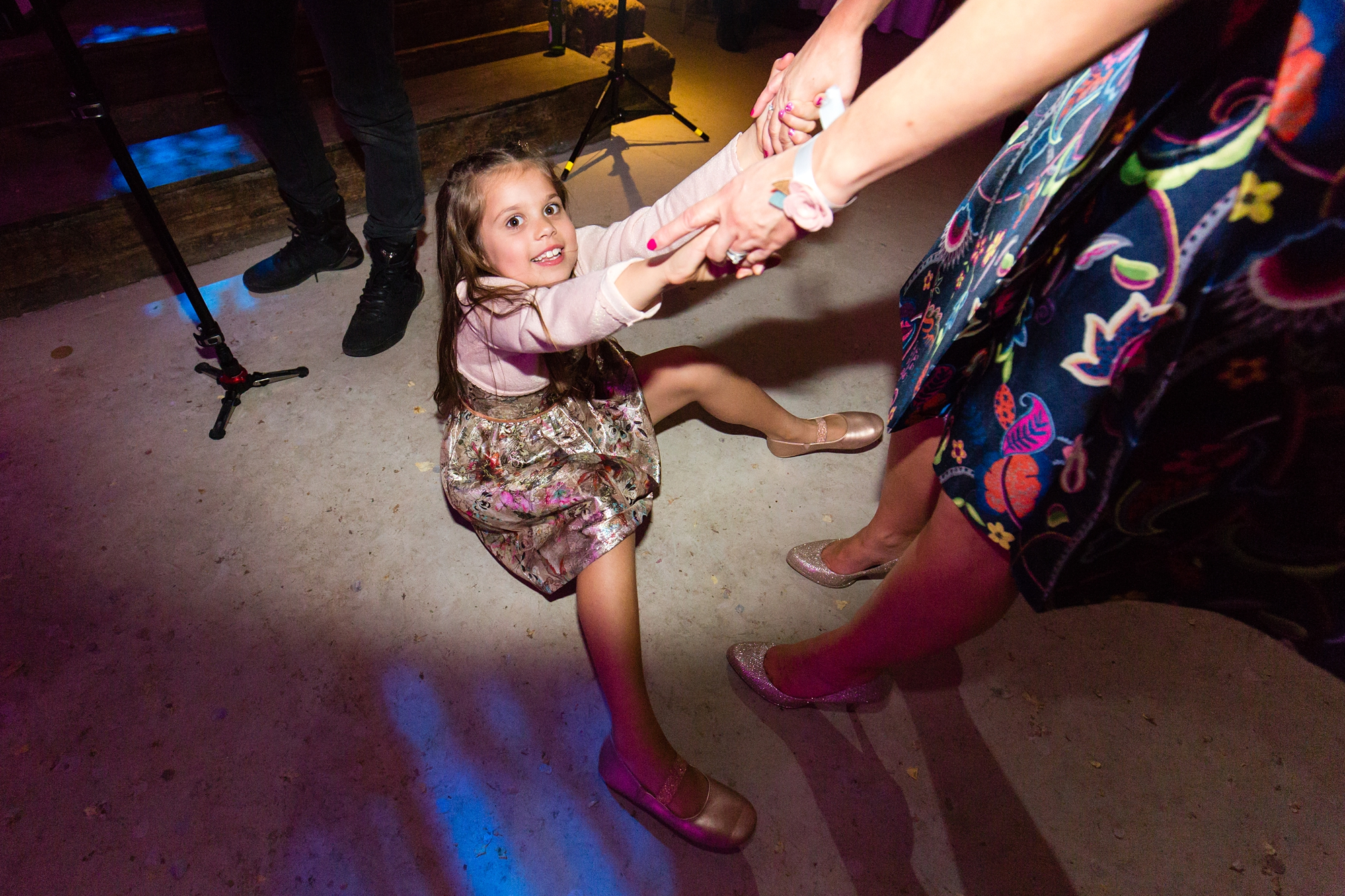 Little girl on the floor at wedding