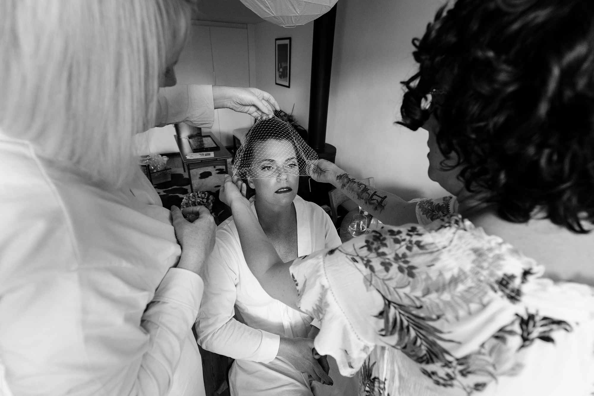 Bride getting ready at fun and quirky wedding in London