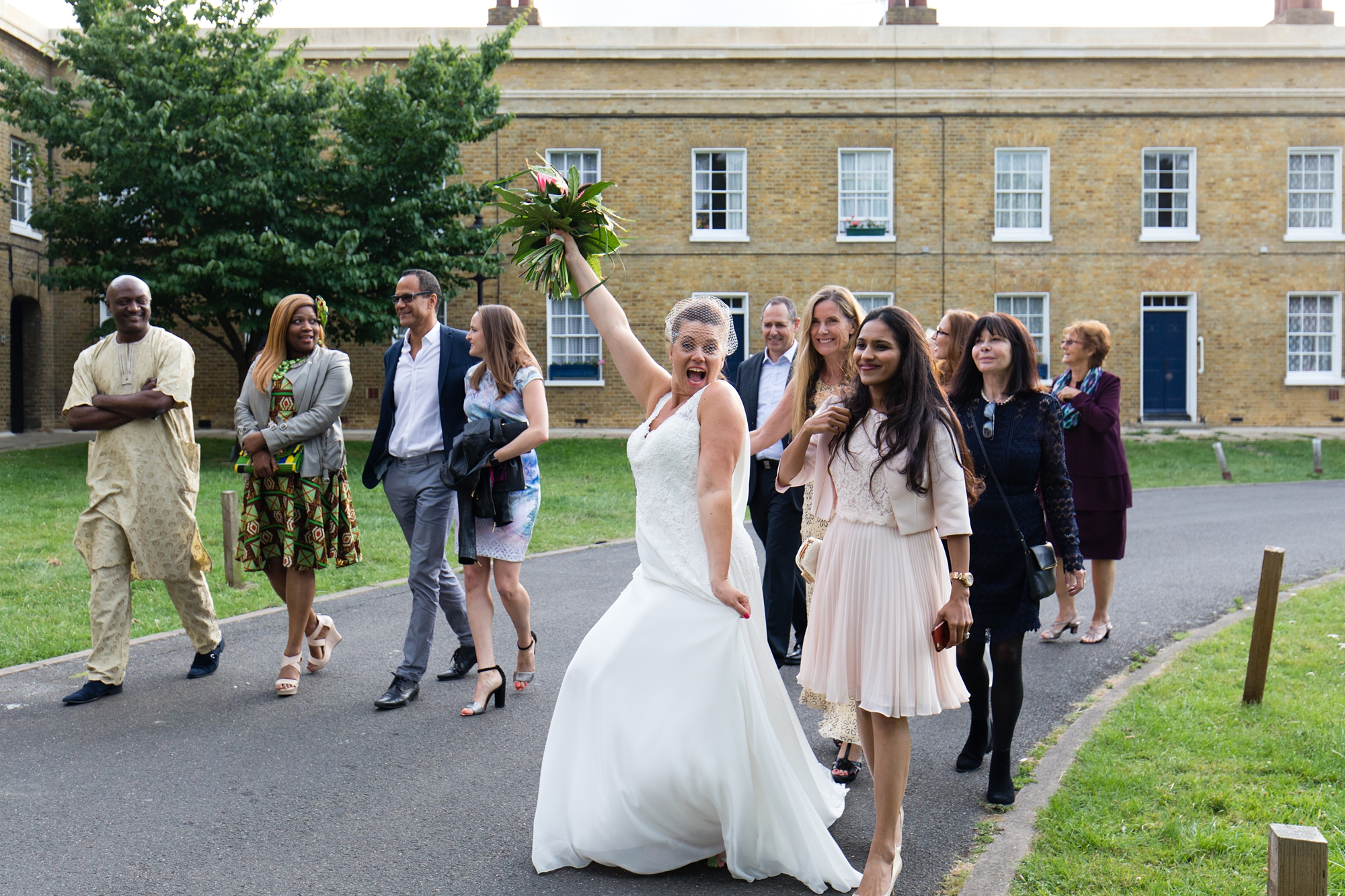 Bride makes silly face at quirky & fun wedding in London
