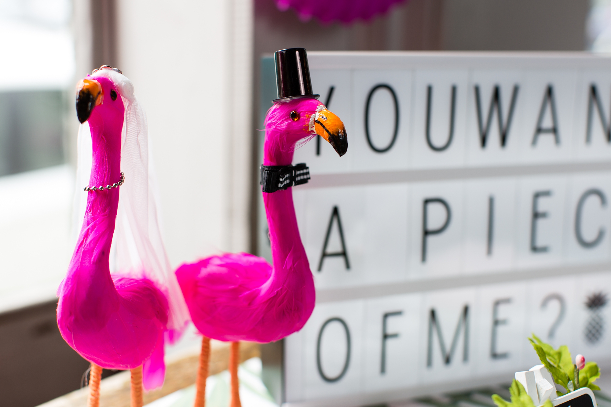 Bride and Groom flamingos made by DIY bride at Quirky and Fun wedding in London