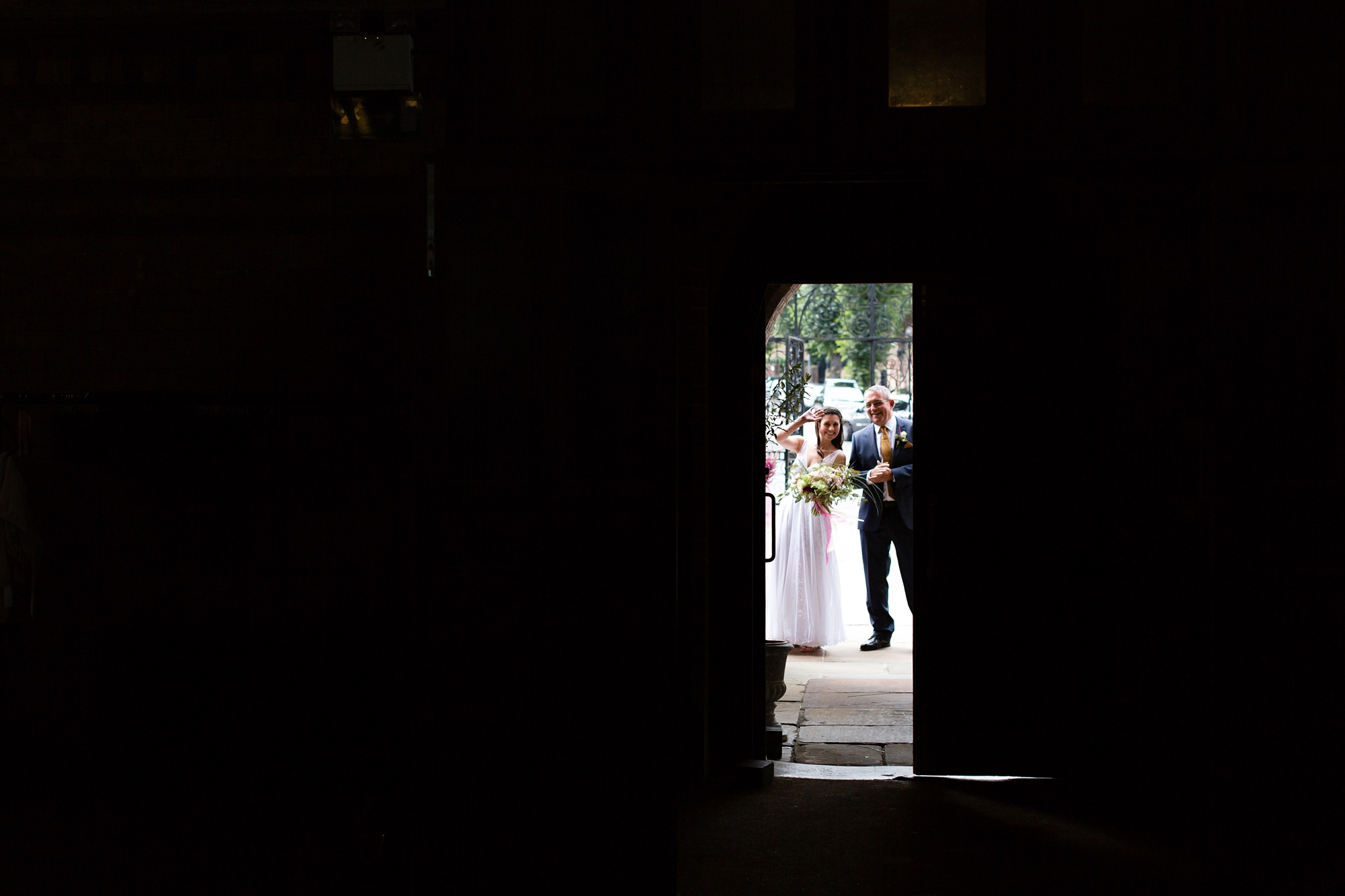 St. Stephens Hampstead Wedding bride through the doorway for ceremony
