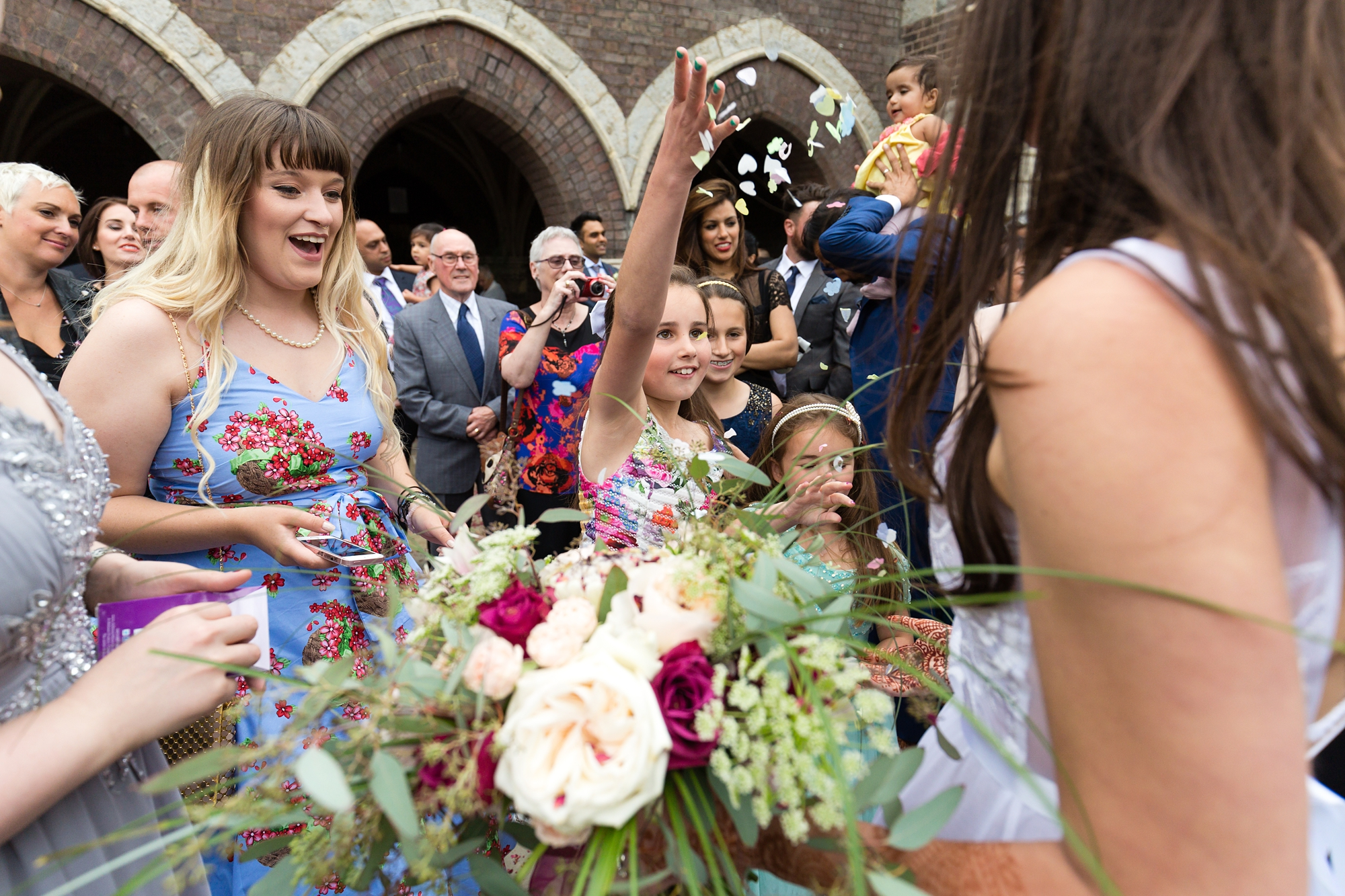 St. Stephens Hampstead Wedding guest throws extra confetti