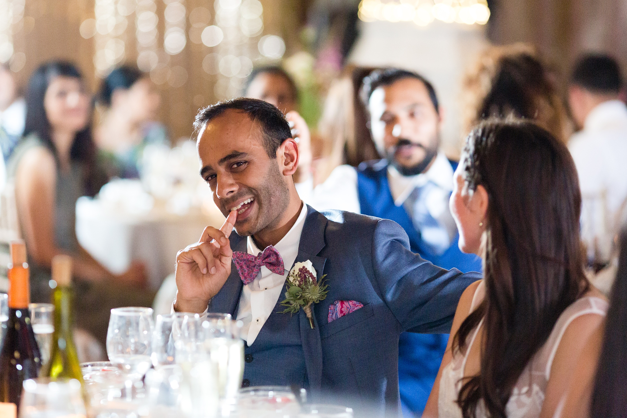 St Stephens Hampstead Wedding Photography groom laughing during speeches