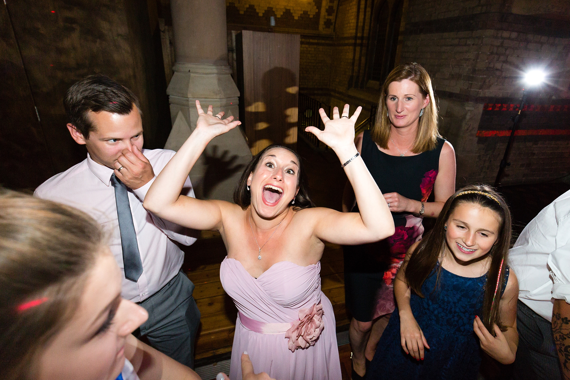Fun Dance photograph during disco St Stephens Hampstead Wedding Photography