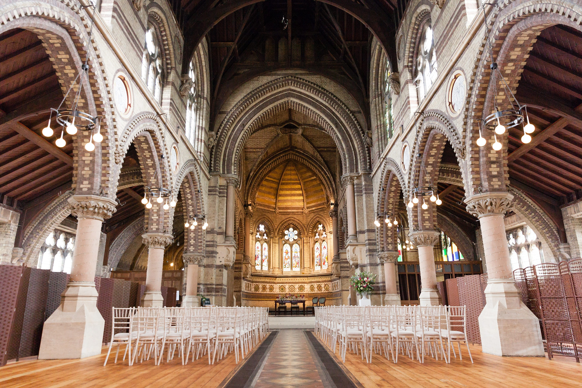 St Stephens Hampstead Heath Wedding Venue interior photograph set up for wedding