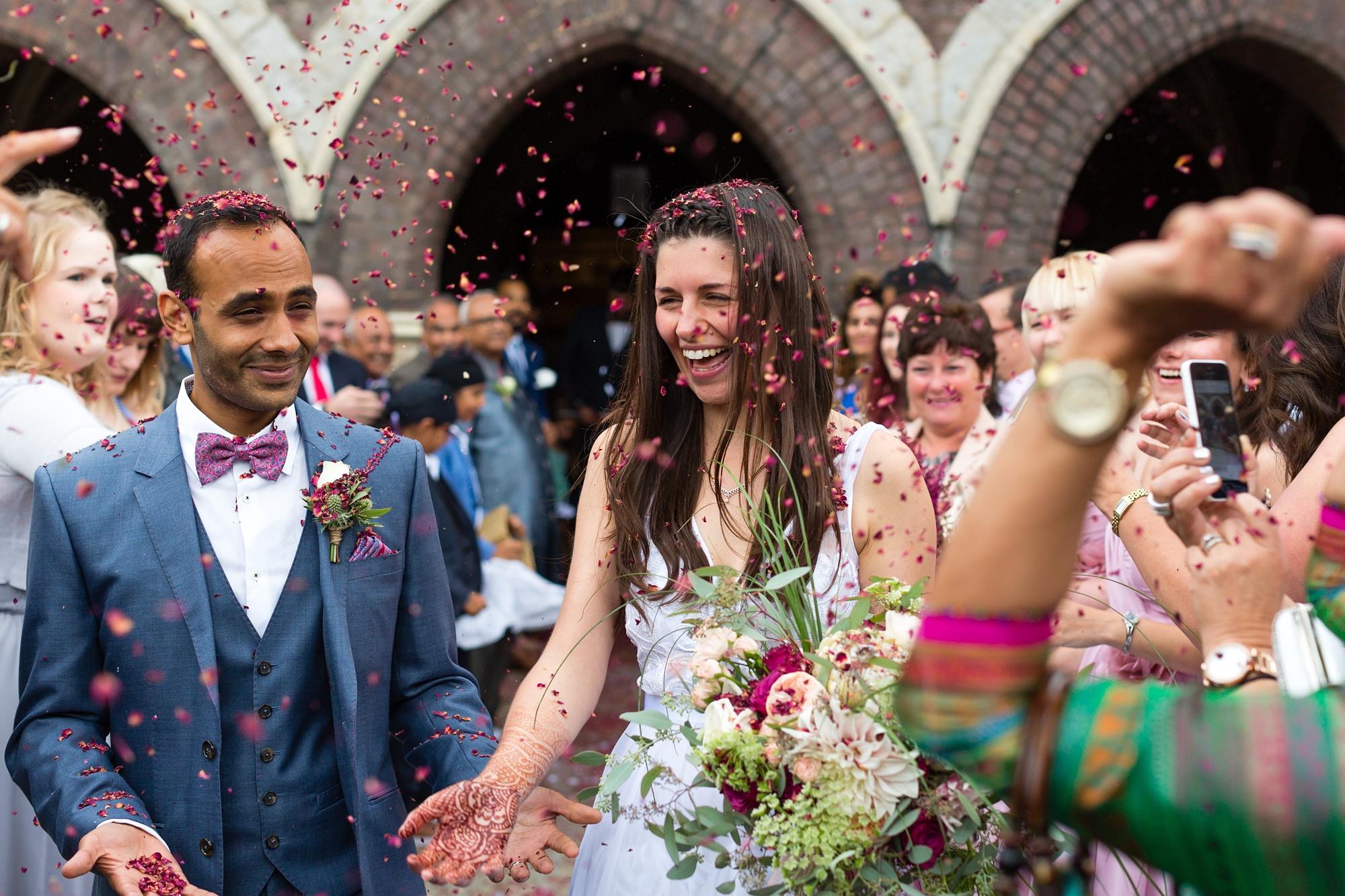 St Stephens Hampstead Heath Wedding Venue Confetti thrown on couple
