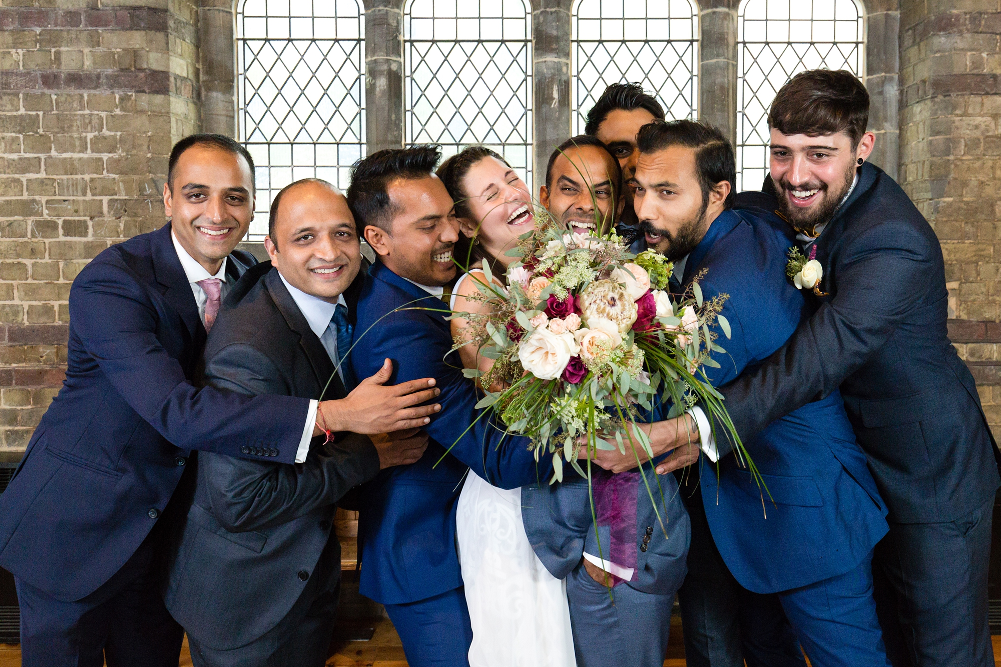 St Stephens Hampstead Heath Wedding Venue group shot hug
