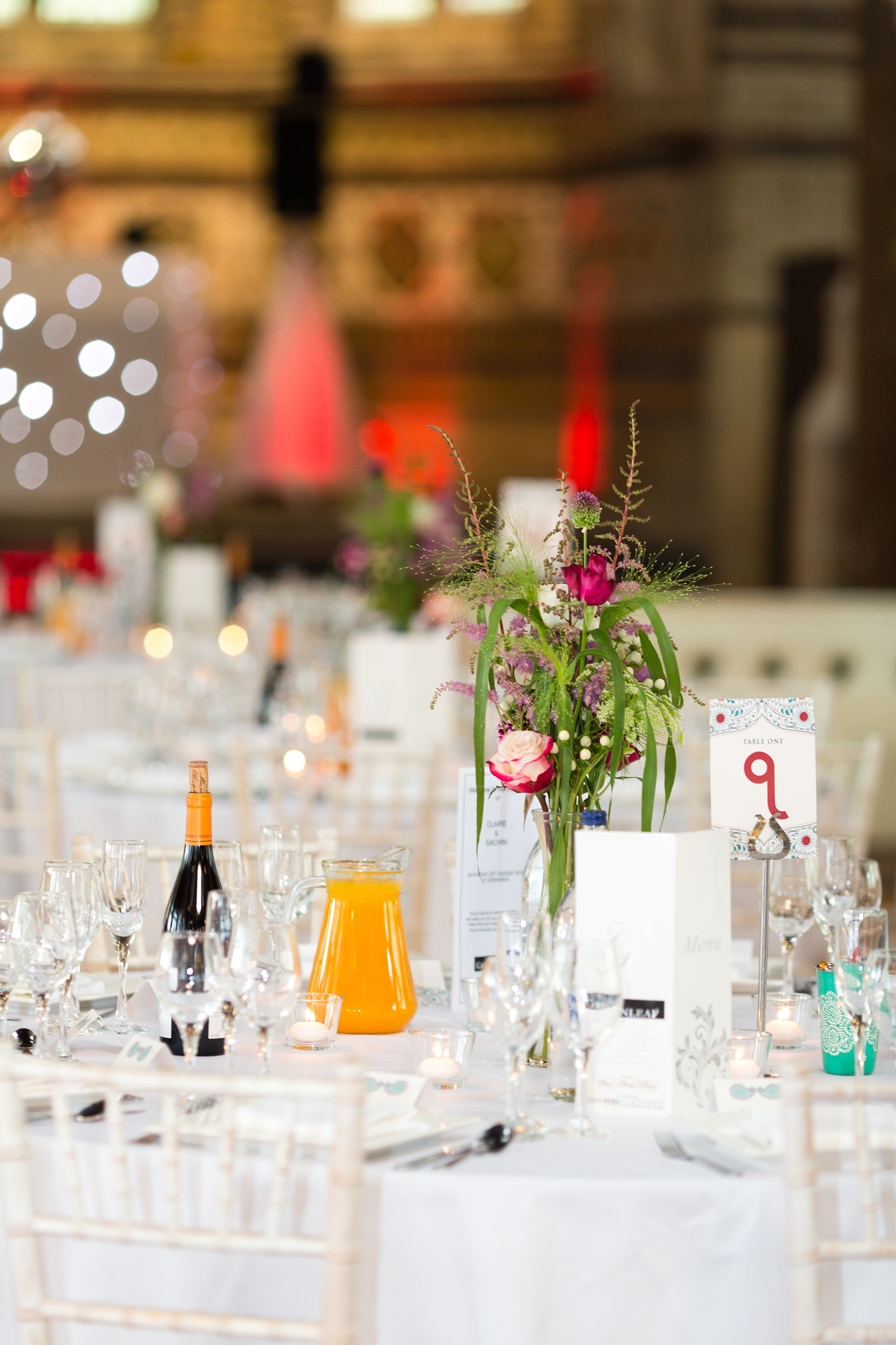 St Stephens Hampstead Heath Wedding Venue table details with windflowers