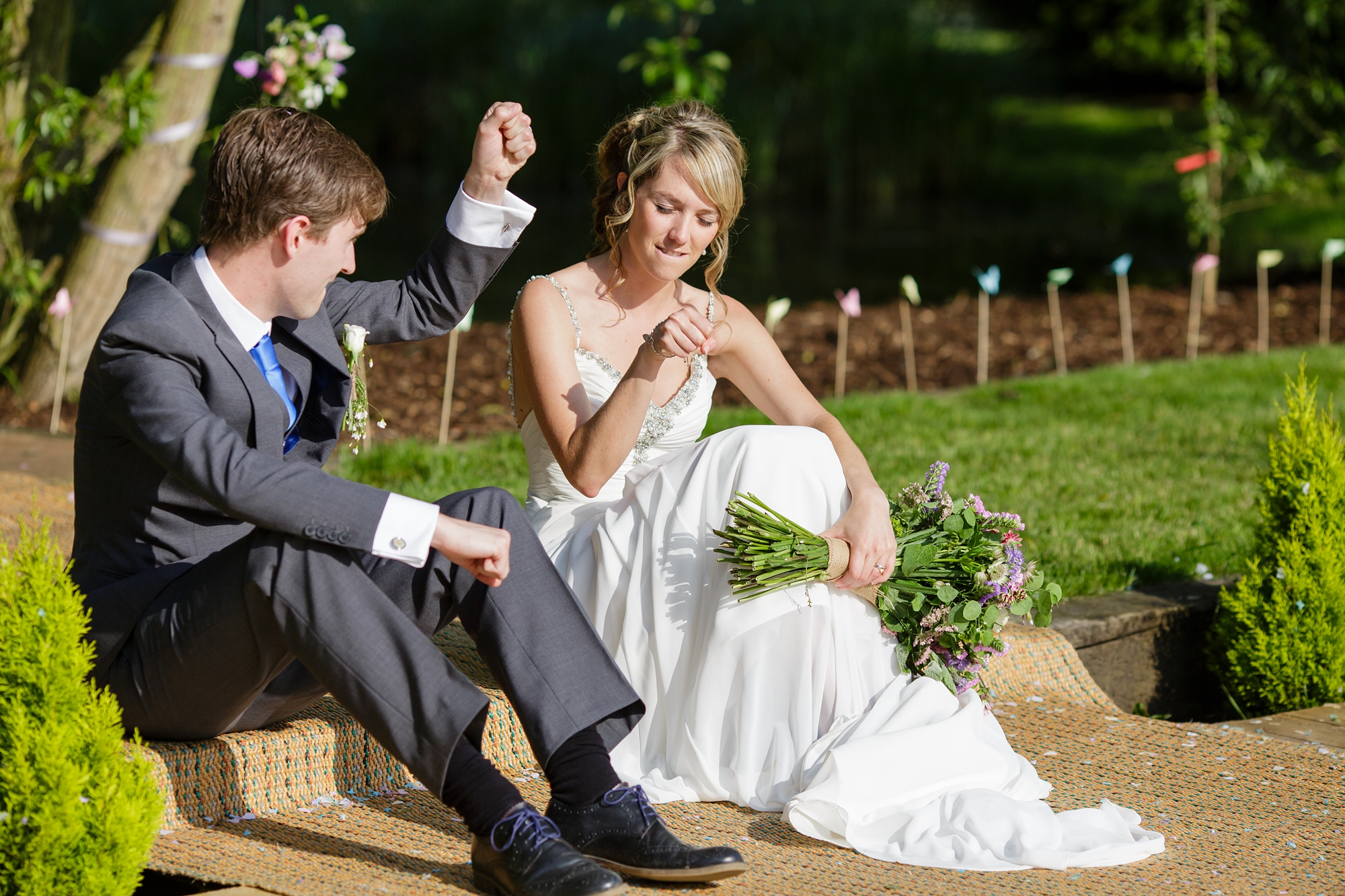 Villa Farm Weddings bride and groom fist bump