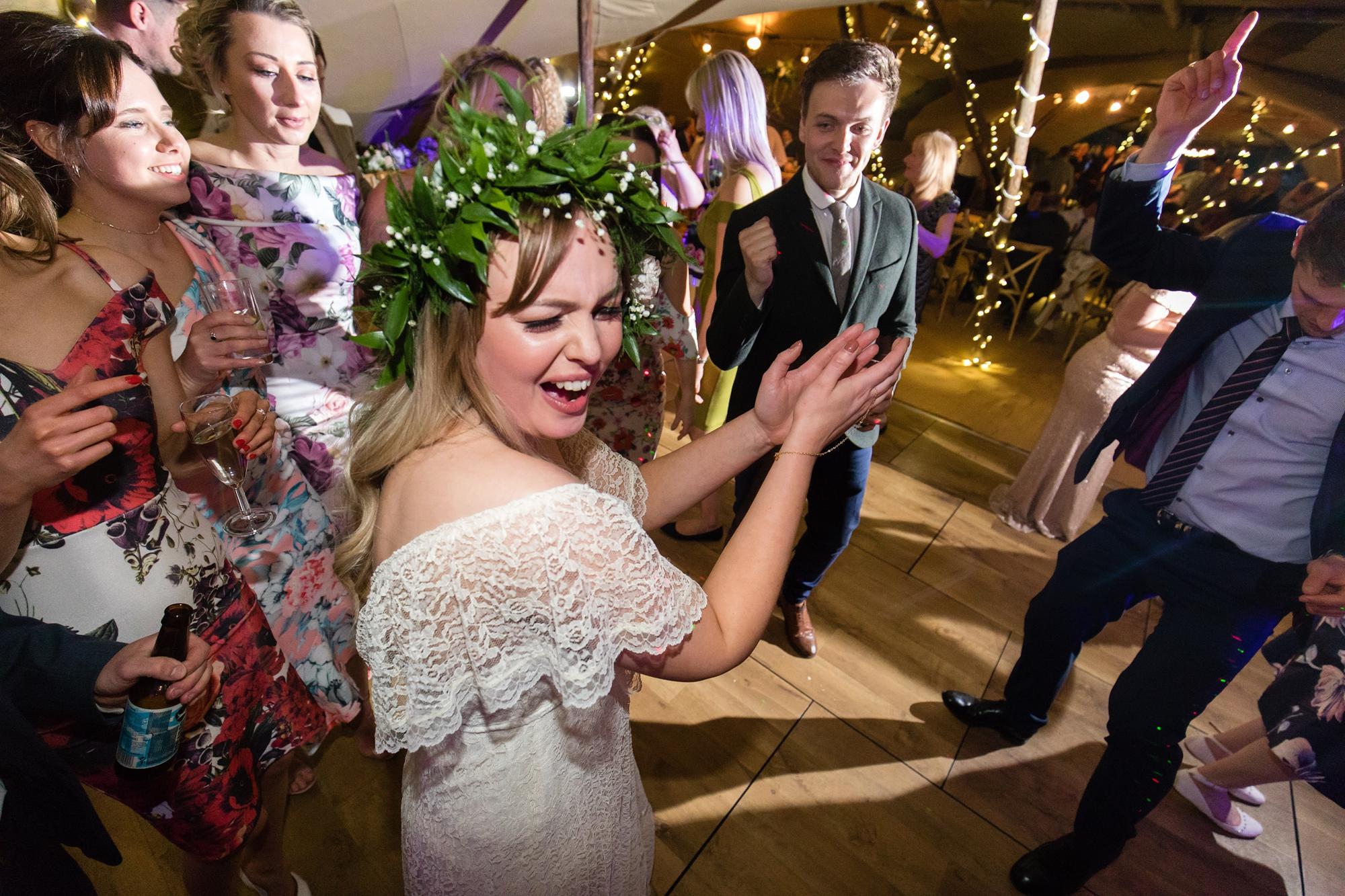 Bride dancing on the dance floor Villa Farm Weddings
