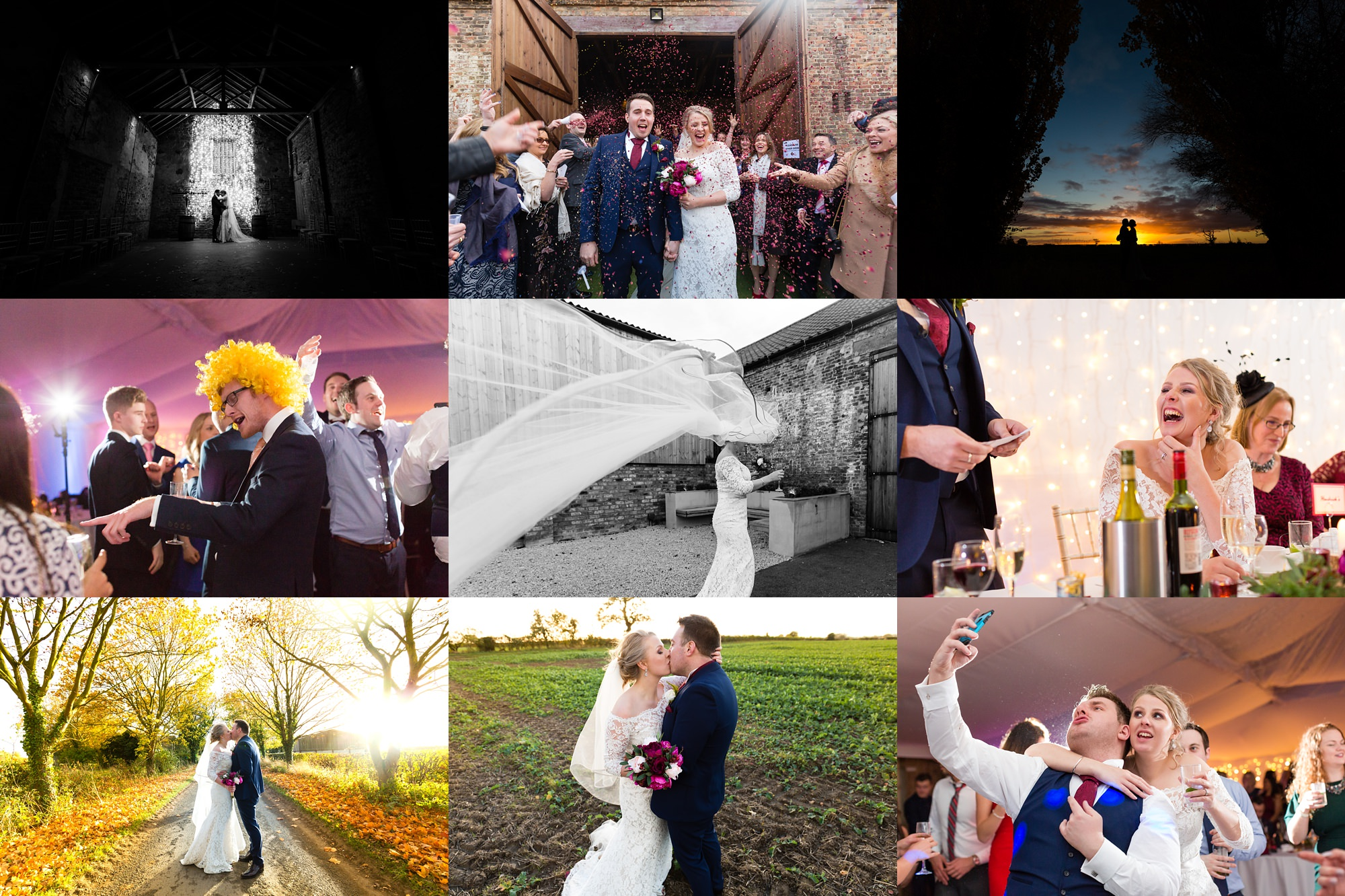 Yorkshire Wedding Photography Barn Venues Collage of The Normans Weddings