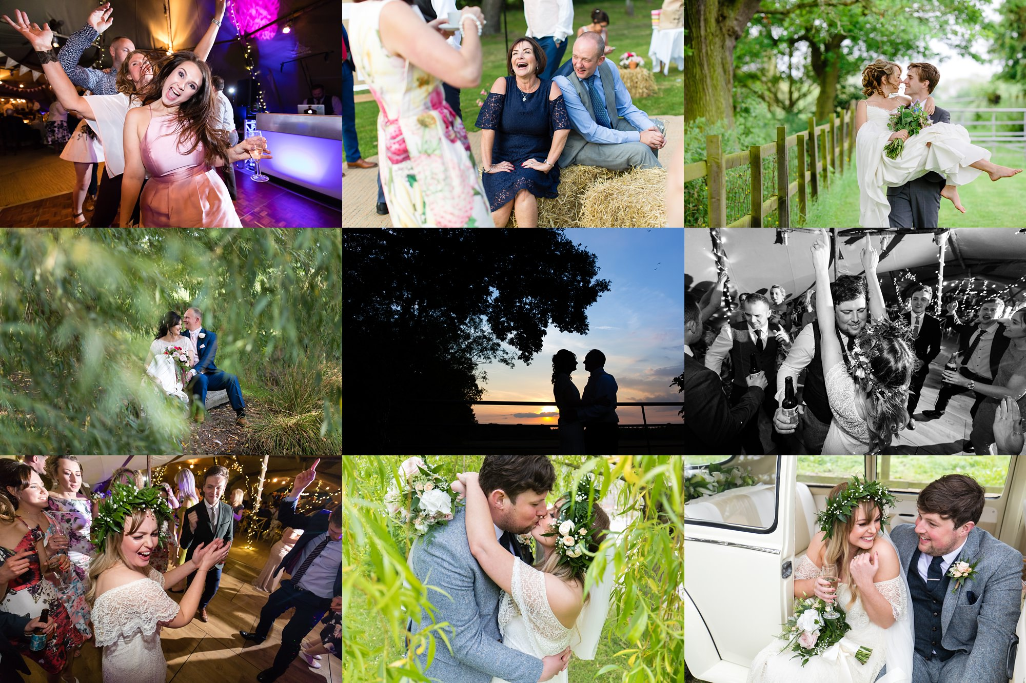 Yorkshire Wedding Photography Barn Venues collage of Villa Farm Weddings