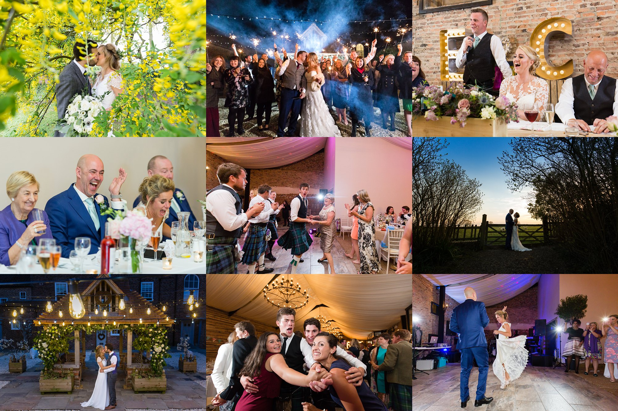 Yorkshire Wedding Photography Barn Venues Collage of Hornington Manor Farm Weddings