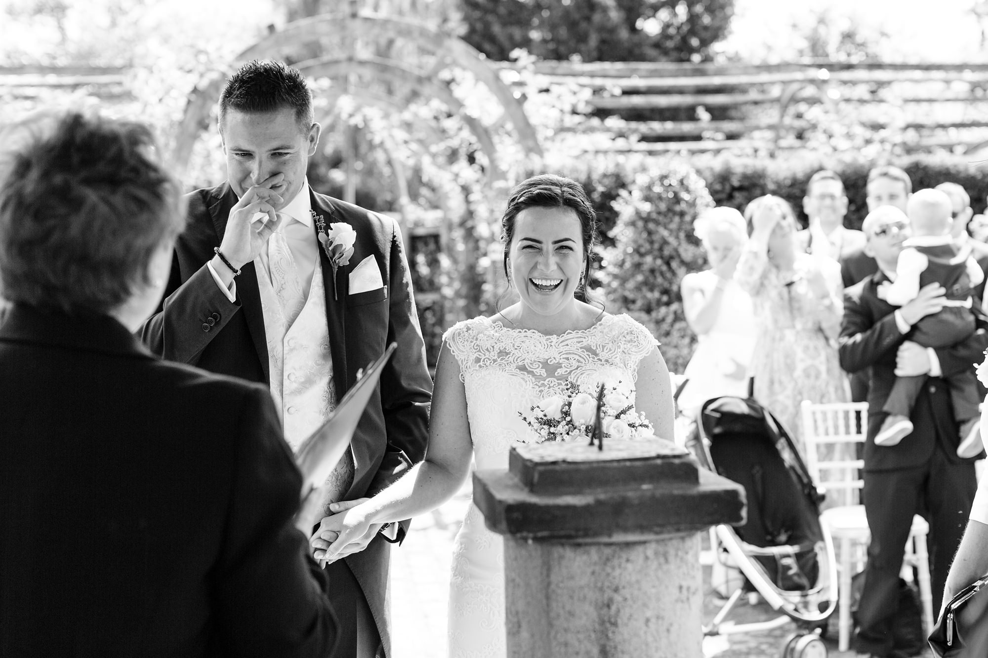 Bell Hall Wedding Photography Groom crying when he sees the bride