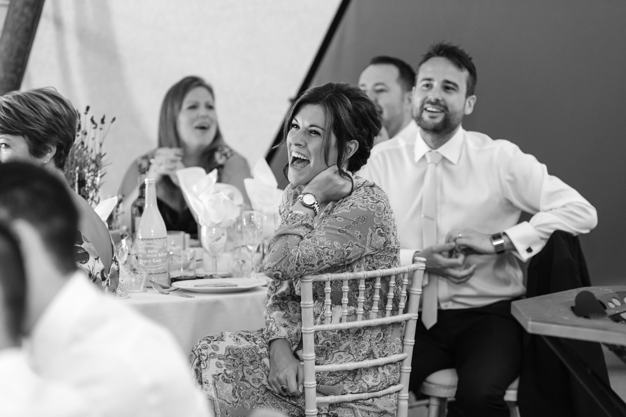 Bell Hall Wedding Photography speeches inside the tipi guest smiling