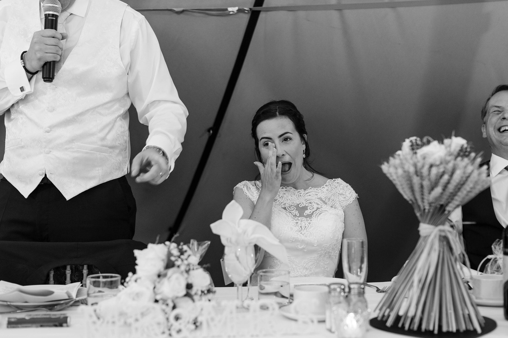 Bell Hall Wedding Photography speeches inside the tipi bride crying