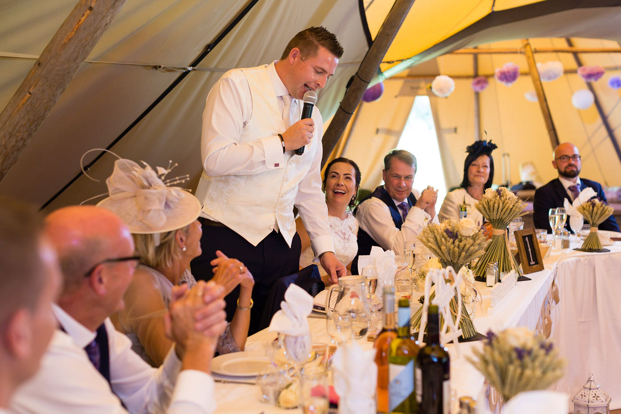 Bell Hall Wedding Photography speeches inside the tipi