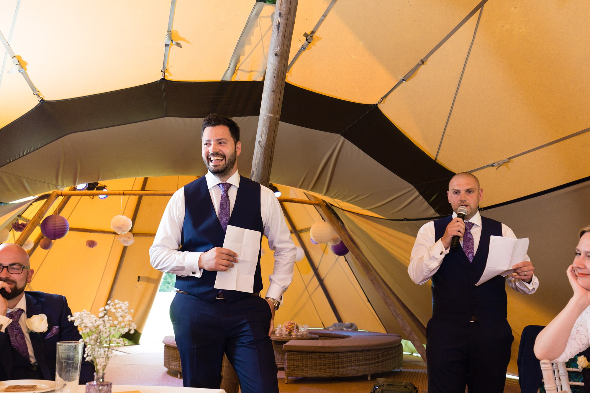 Bell Hall Wedding Photography speeches inside the tipi best man