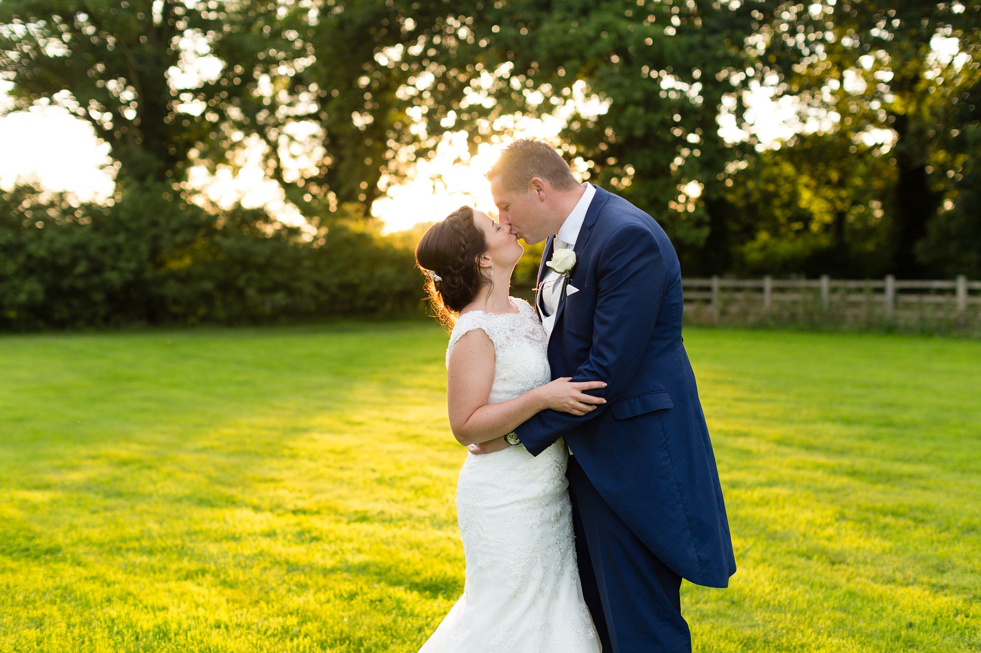 Bell Hall Wedding Photography couple kissing in the sunset