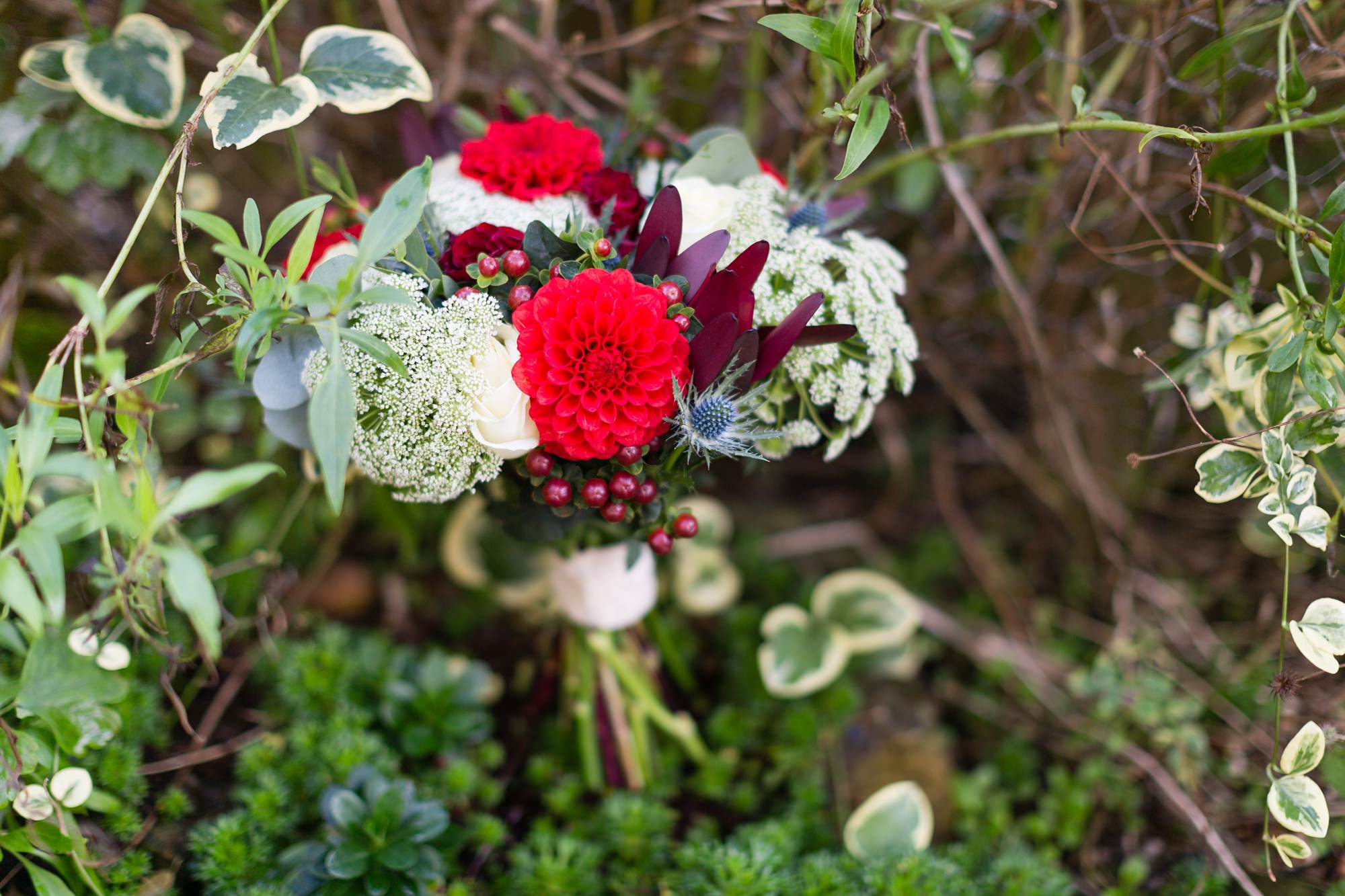 Red, blue and white flower bouquet with dahliasYorkshire Wedding Photography