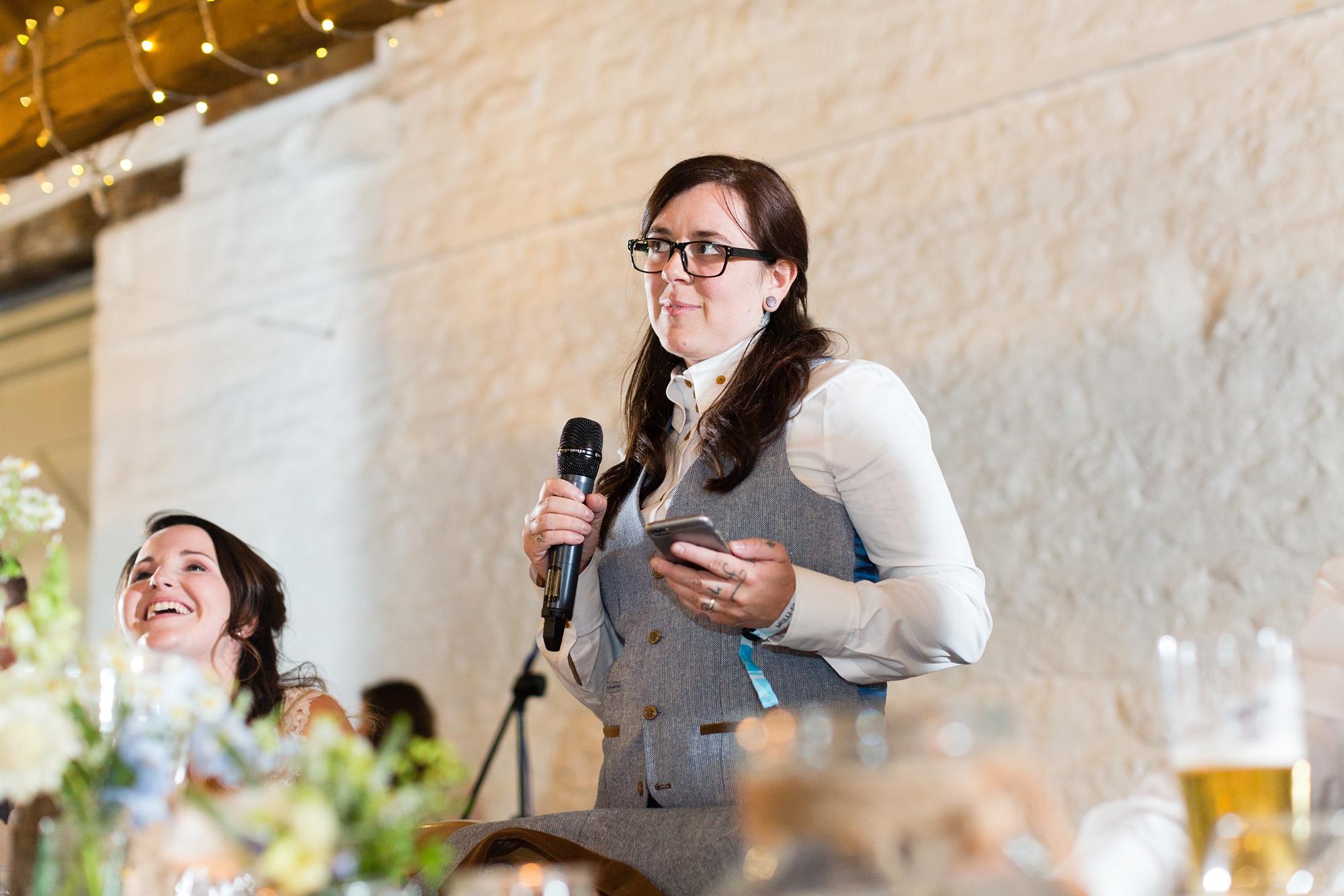 Bride giving speech at her wedding