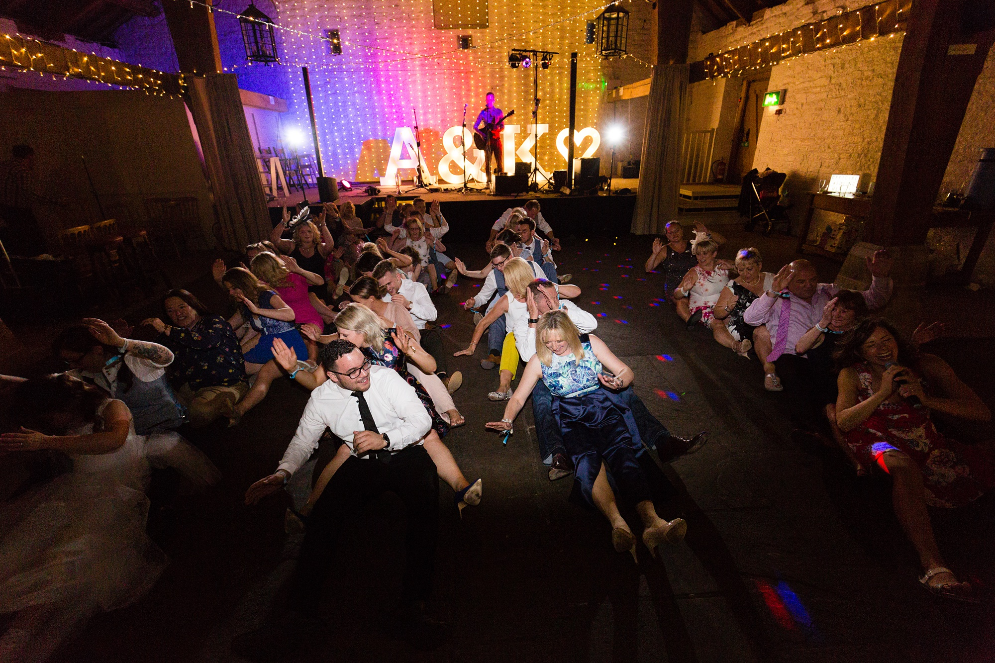 East Riddlesden Hall Wedding Photography group dancing at party