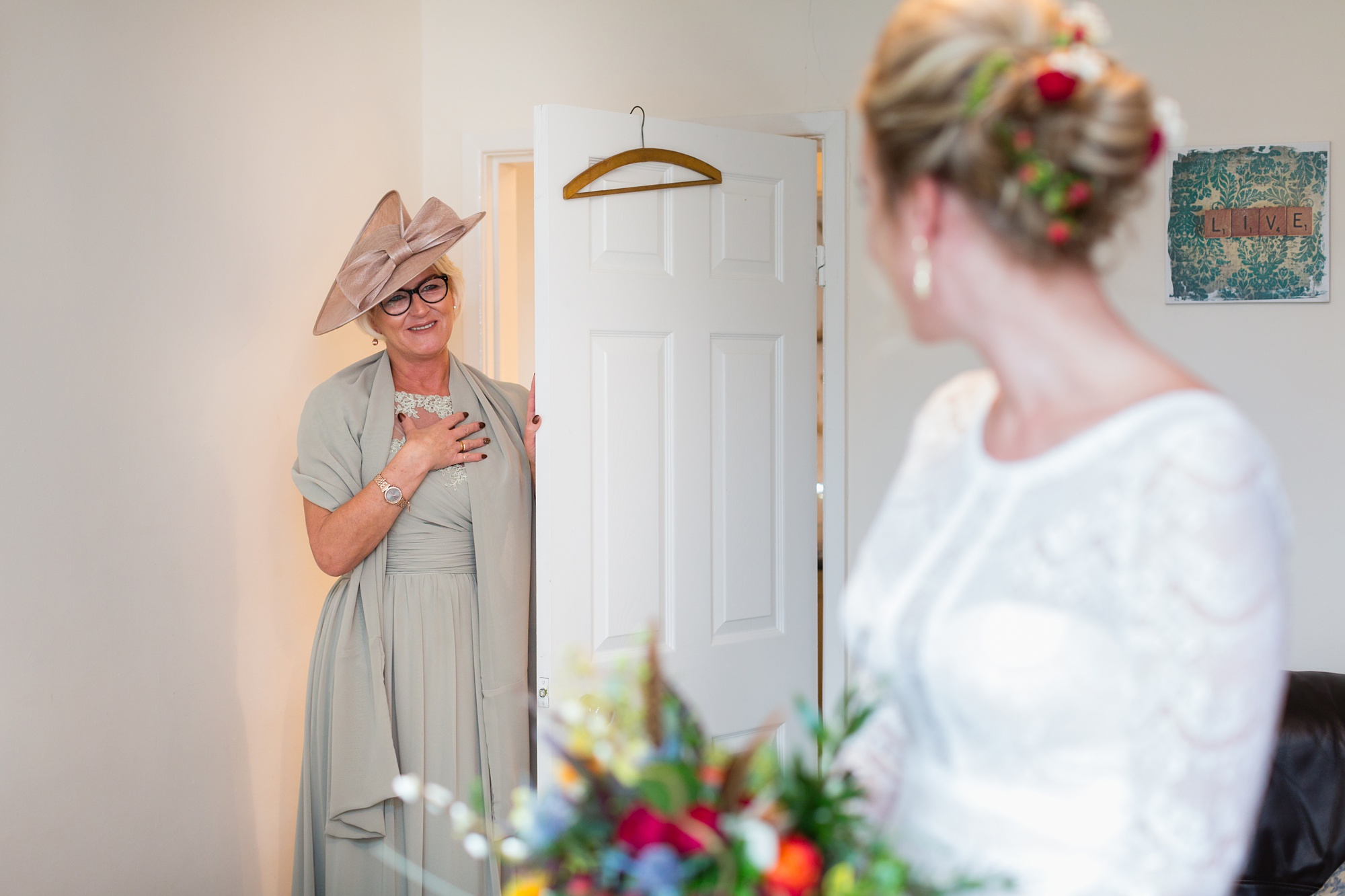Yorkshire Wedding Photographers at Barmbyfield Barn brides mum sees bride for first time.