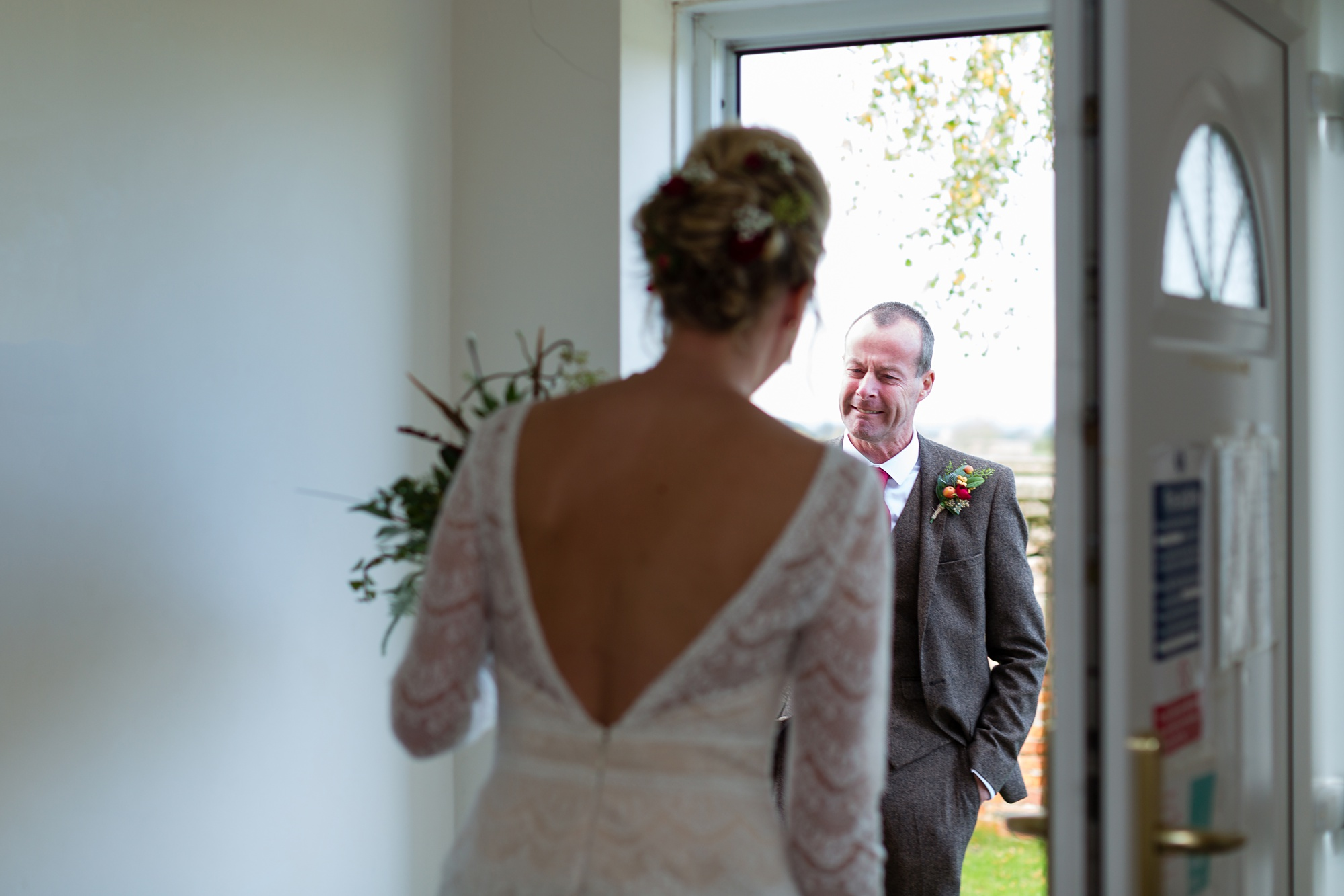 Yorkshire Wedding Photographers at Barmbyfield Barn Bride's dad sees her for the first time.