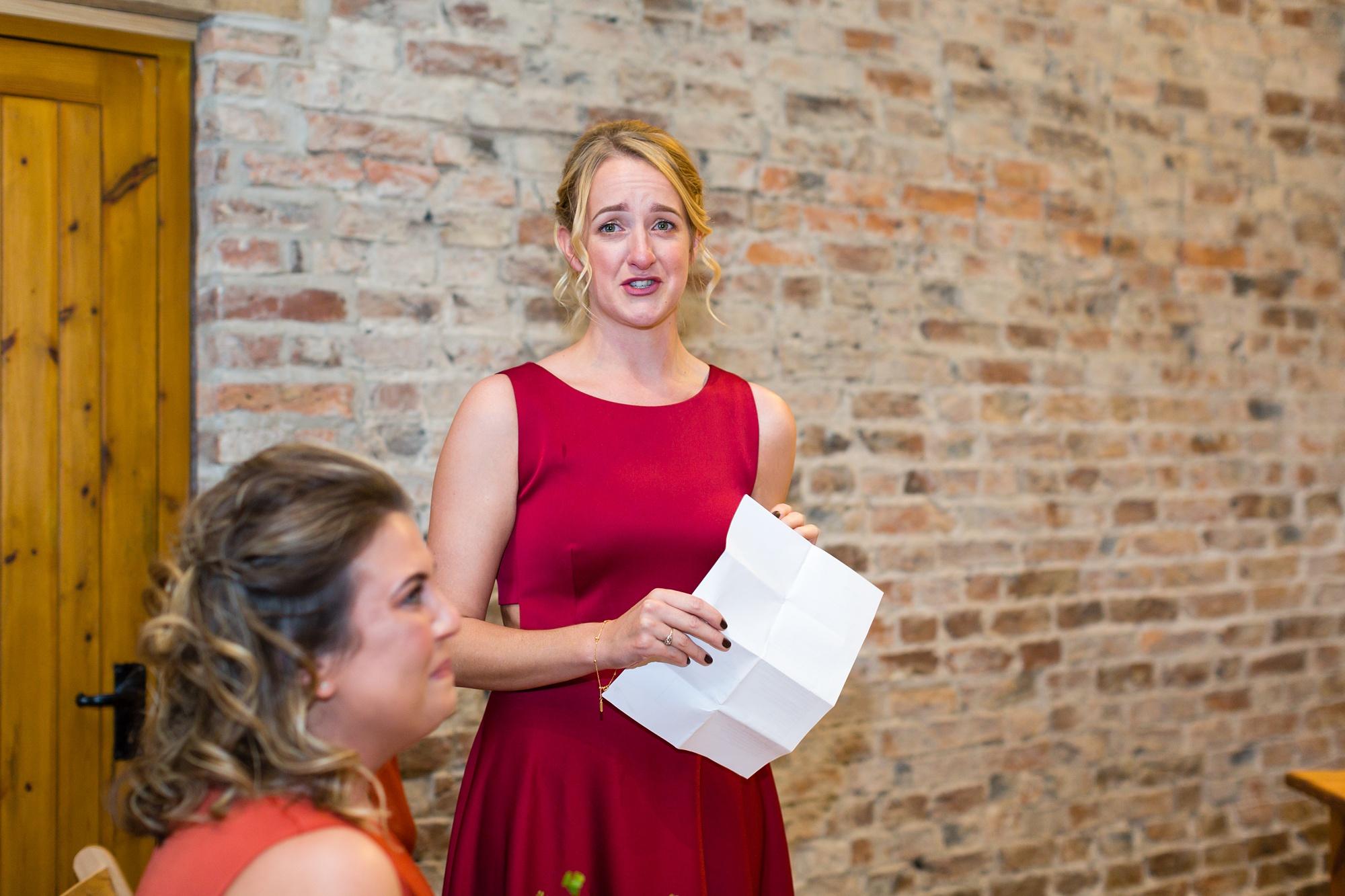 Sister cried suring wedding reading Yorkshire Wedding Photographers