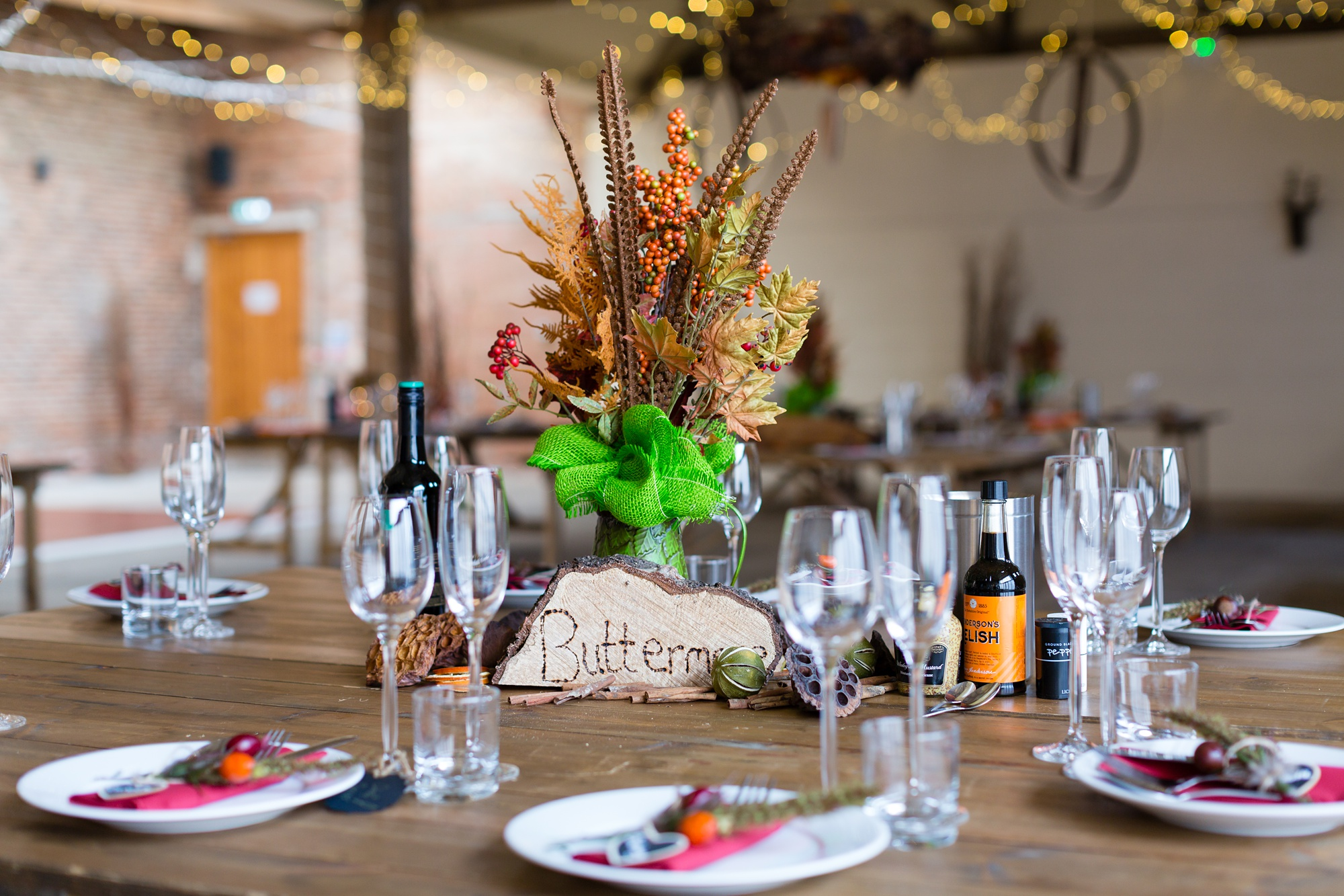 Yorkshire Wedding Photographers at Barmbyfield Barn autumnal wedding details