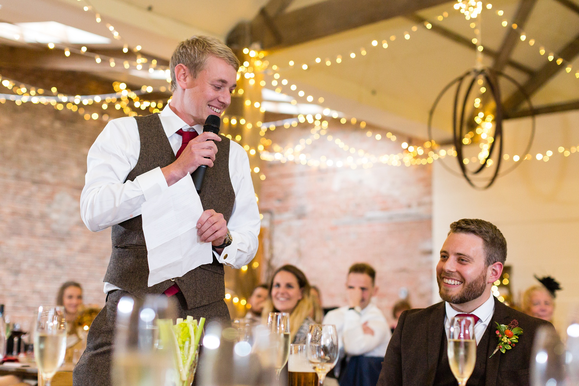 Barmbyfield Barn Wedding Photography best man giving speeches