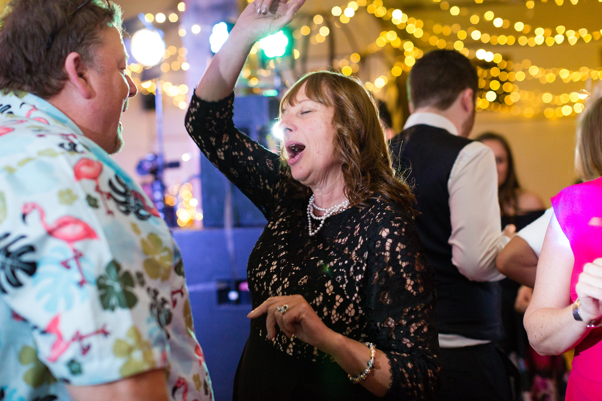 Yorkshire Wedding Photographers guests dancing at party