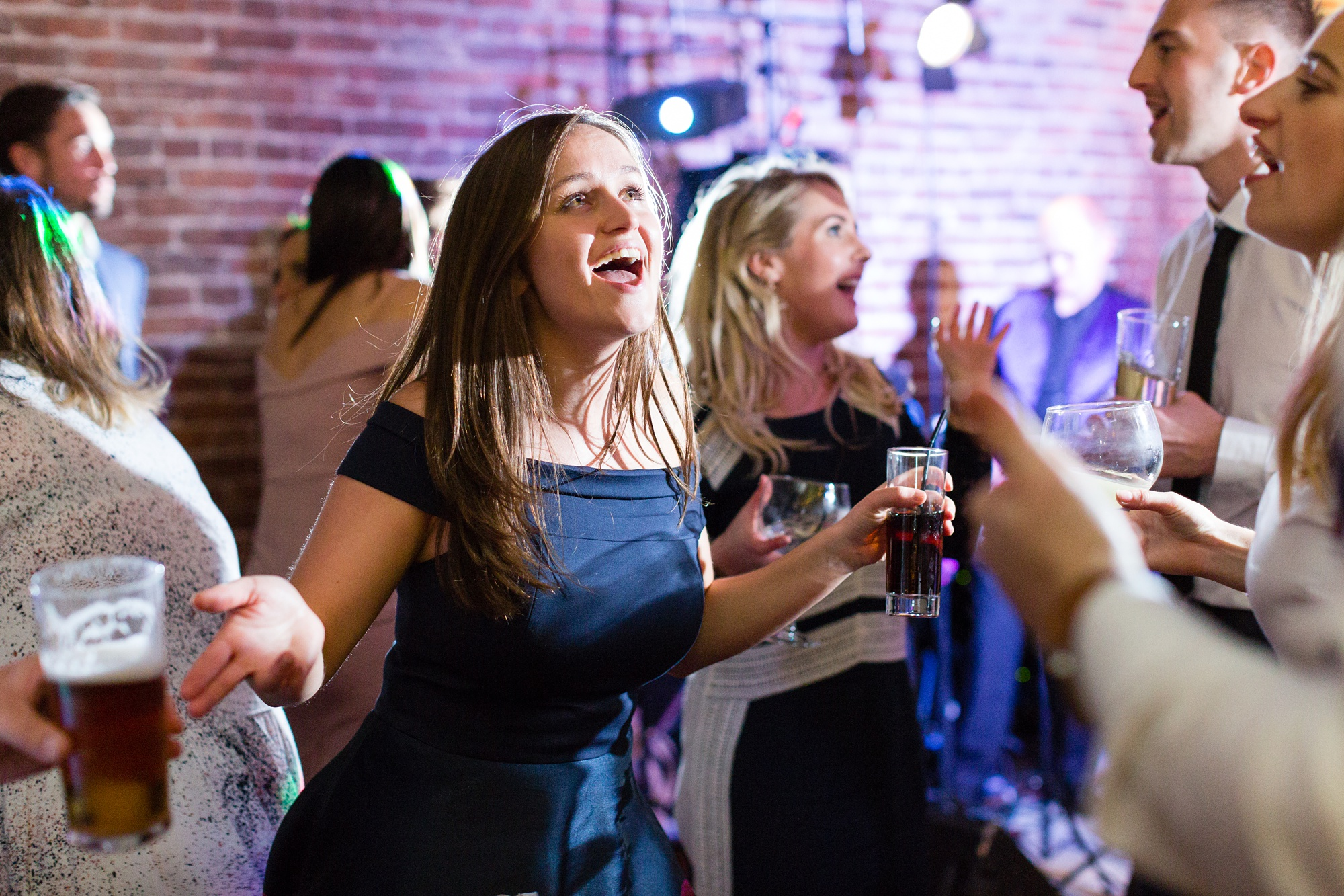 Yorkshire Wedding Photographers guests dancing at disco