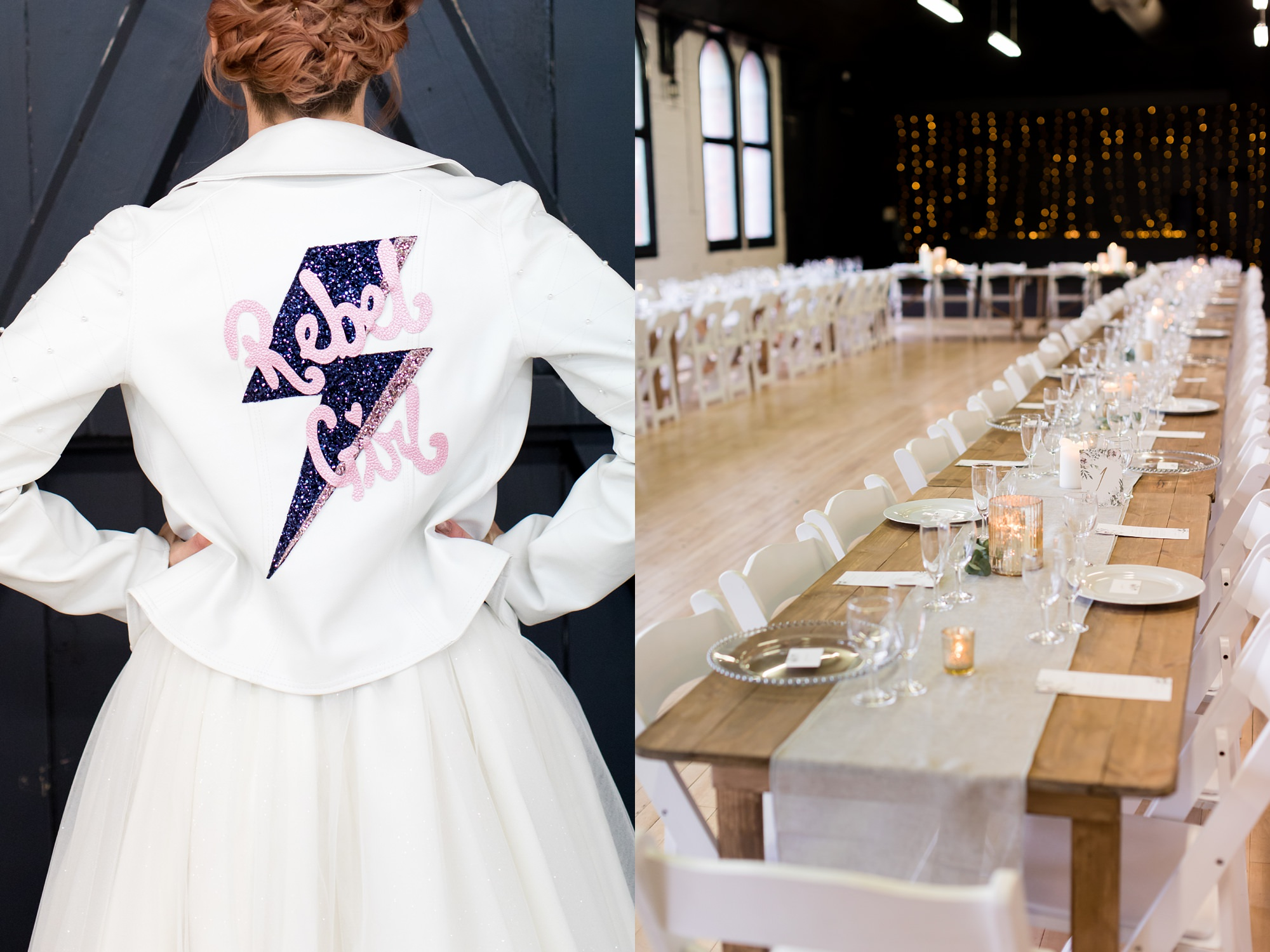 "River Mills Ballroom Wedding Photography bride wearing a ""Rebel Girl"" leather jacket"