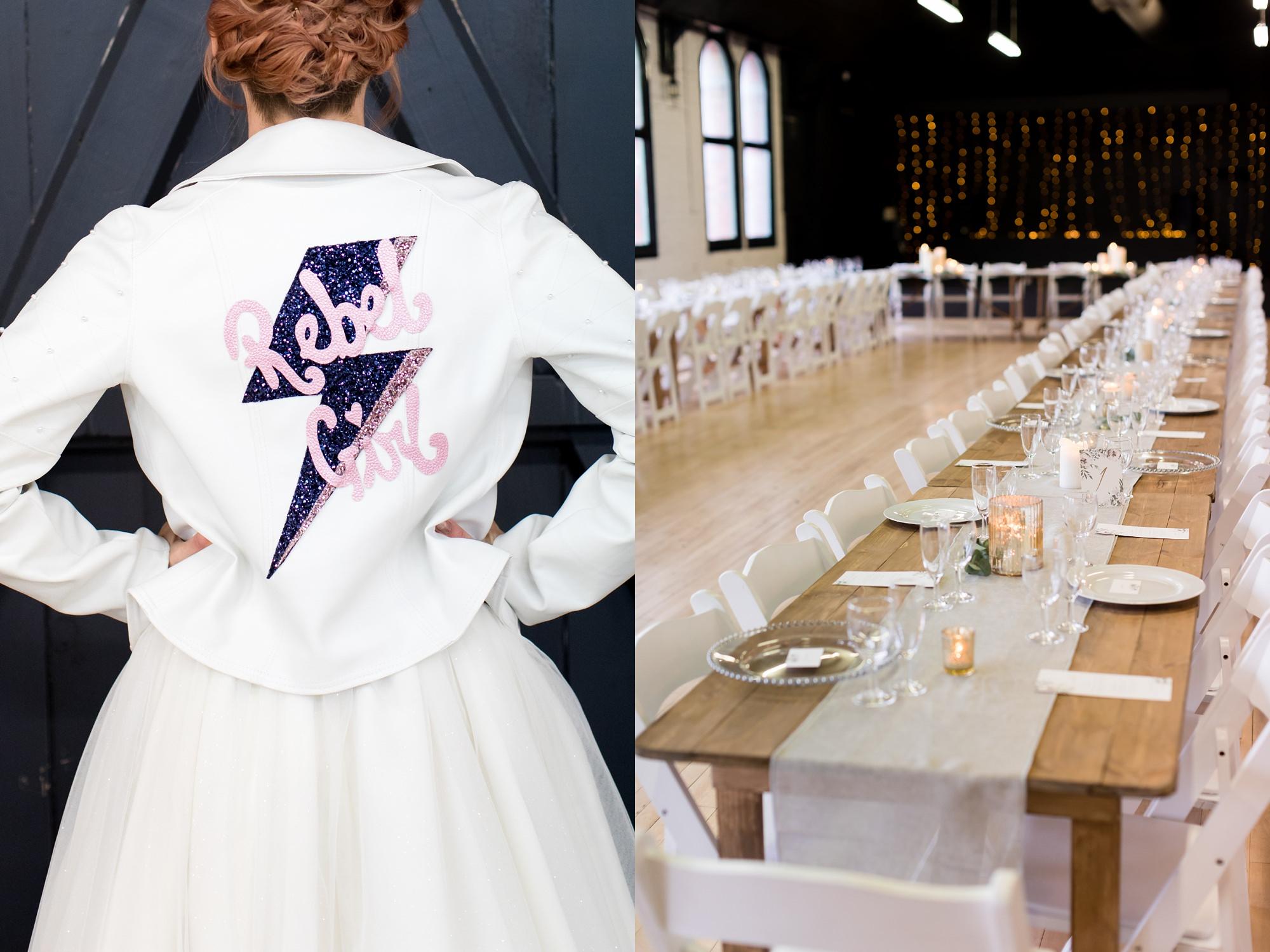 "River Mills Ballroom Wedding Photography bride wearing a ""Rebel Girl"" leather jacket"