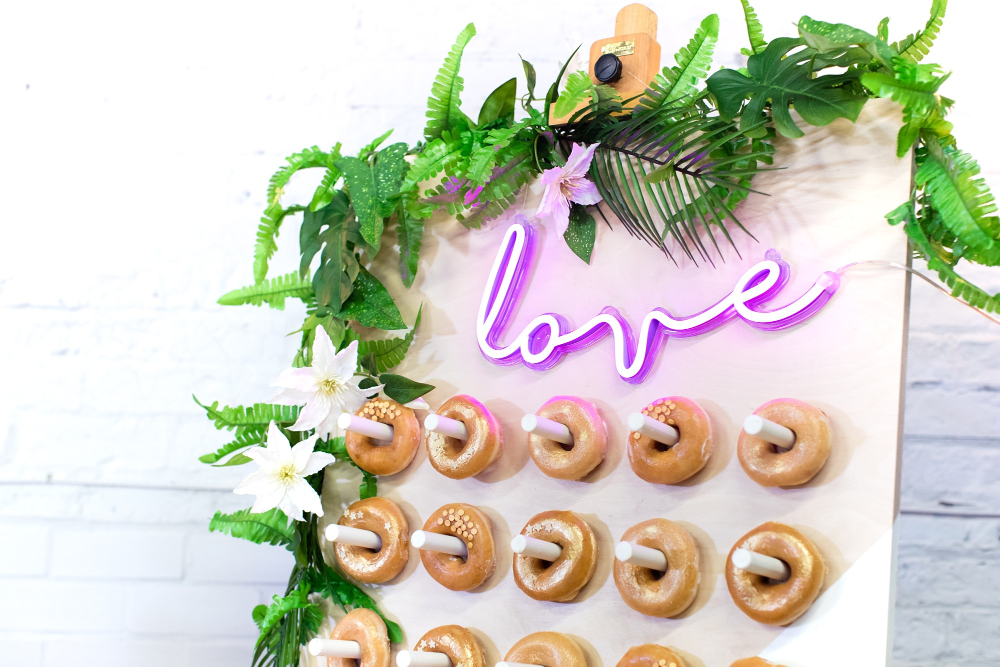 "Donut Wall with ""love"" in neon River Mills Ballroom Wedding Photography"