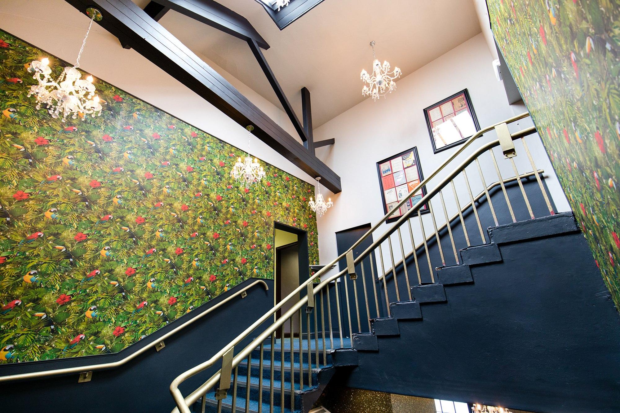 Interior grand staircase at River Mills Ballroom