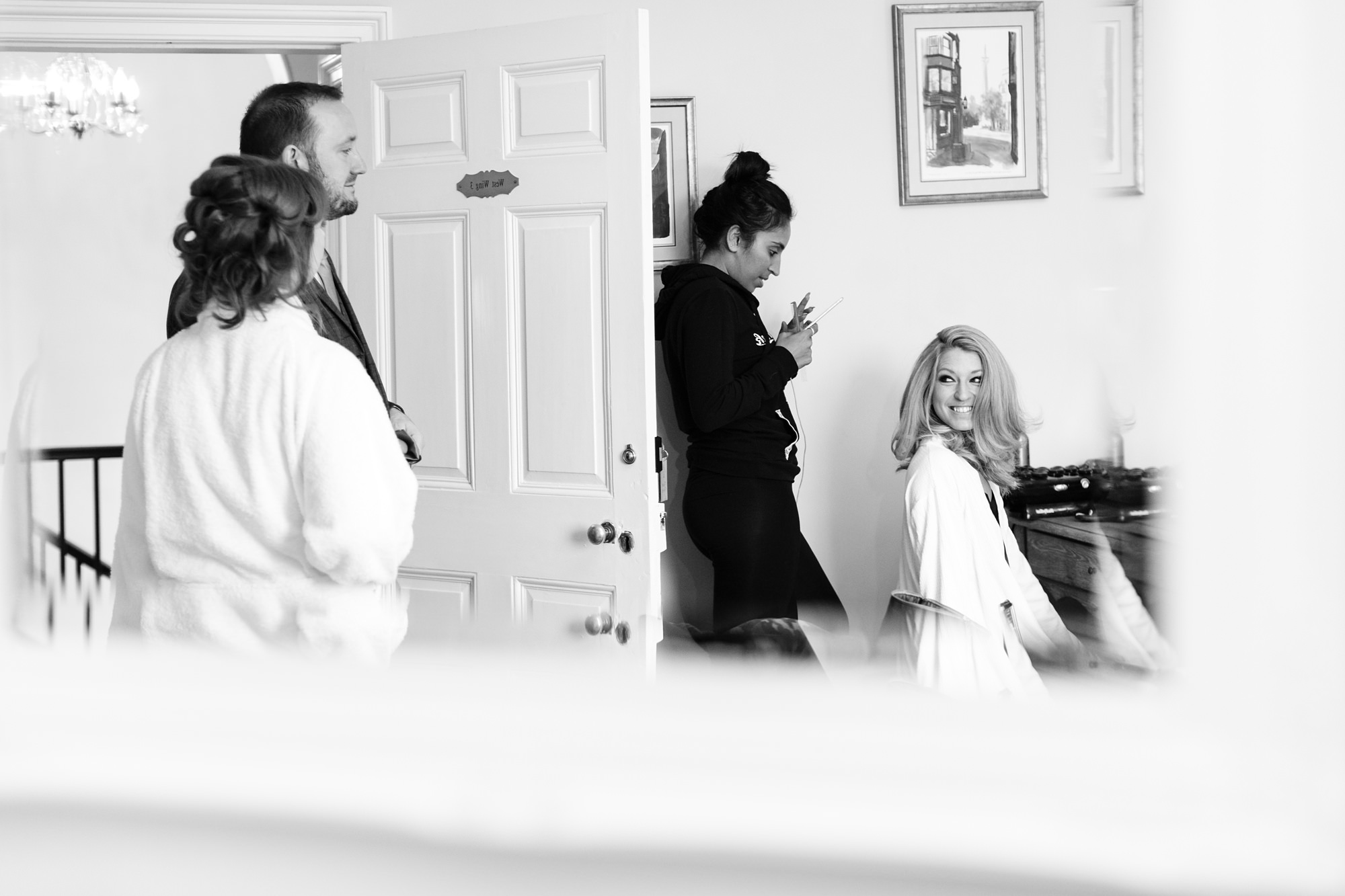 York Wedding Photography at Hornington Manor Farm mirror shot of bride getting ready